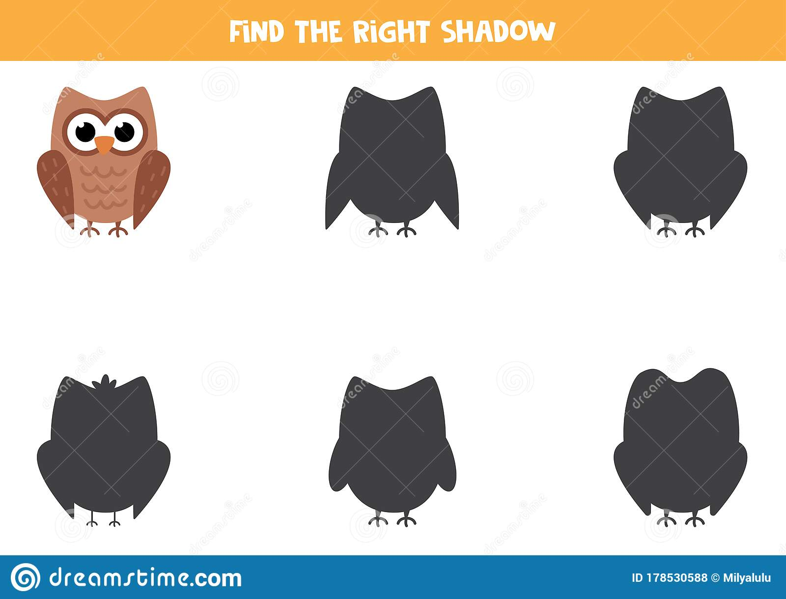 Find The Correct Shadow Of Cute Cartoon Owl Worksheet For