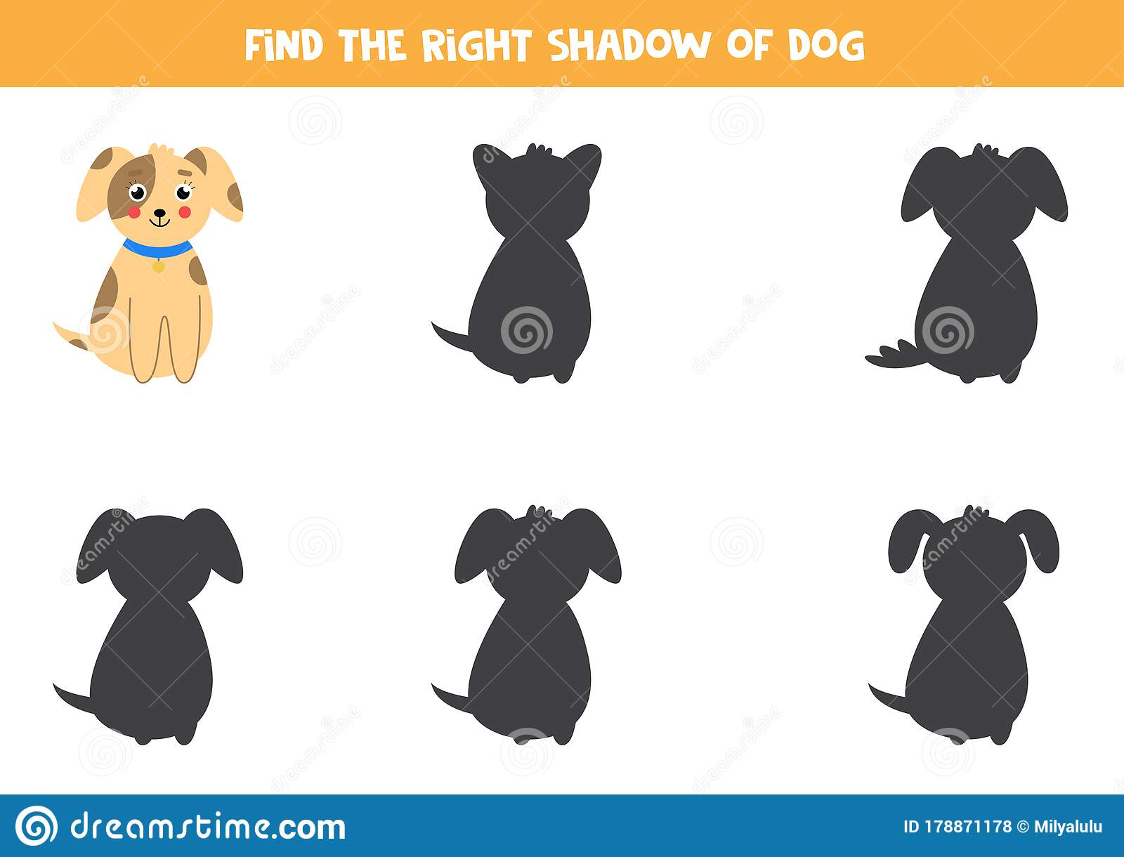 Find The Correct Shadow Of Cute Dog Educational Worksheet
