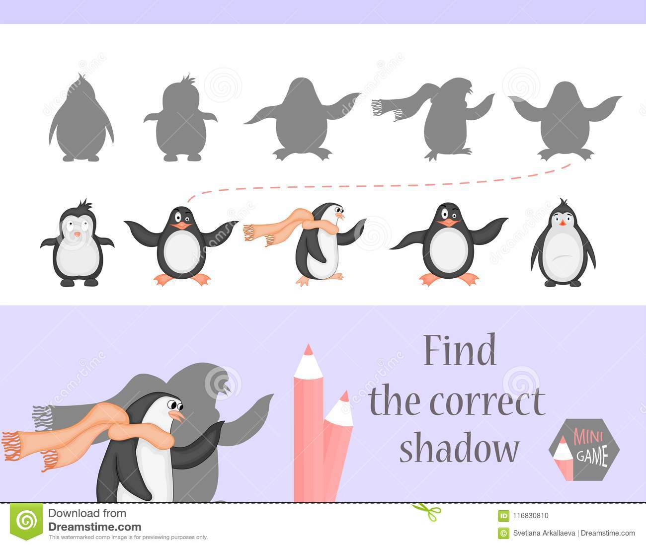 Find The Correct Shadow Education Game For Children Cute
