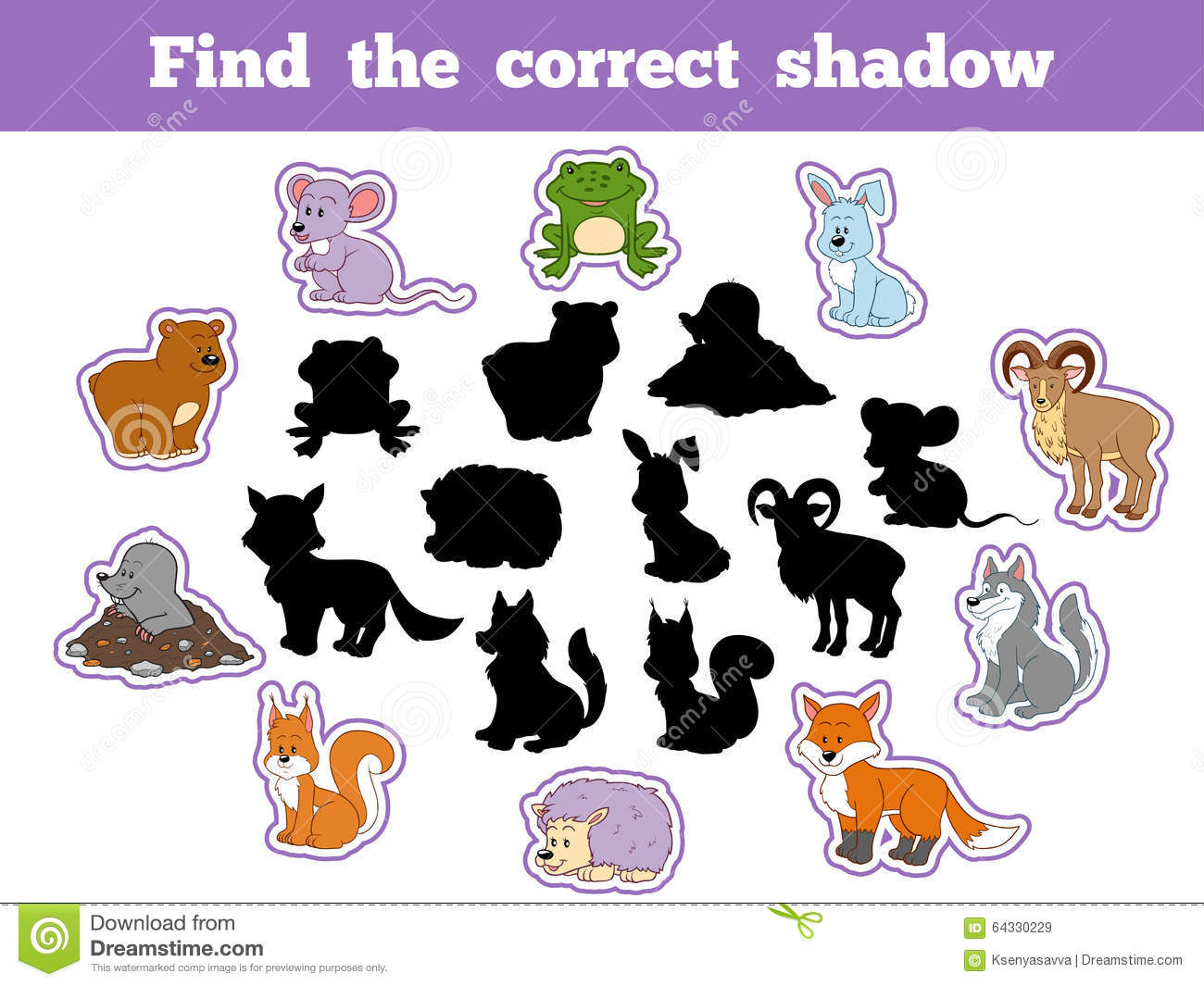 Find The Correct Shadow Forest Animals Stock Vector