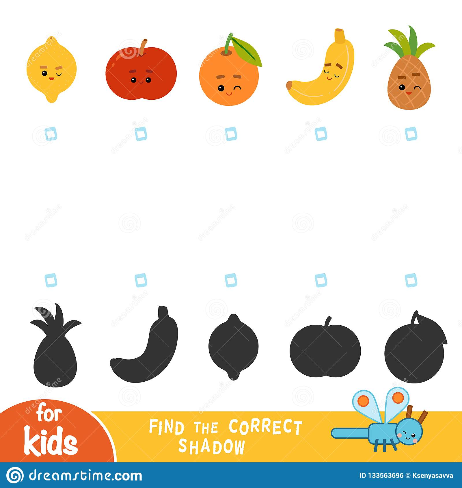 Find The Correct Shadow Game For Children Set Of Fruits