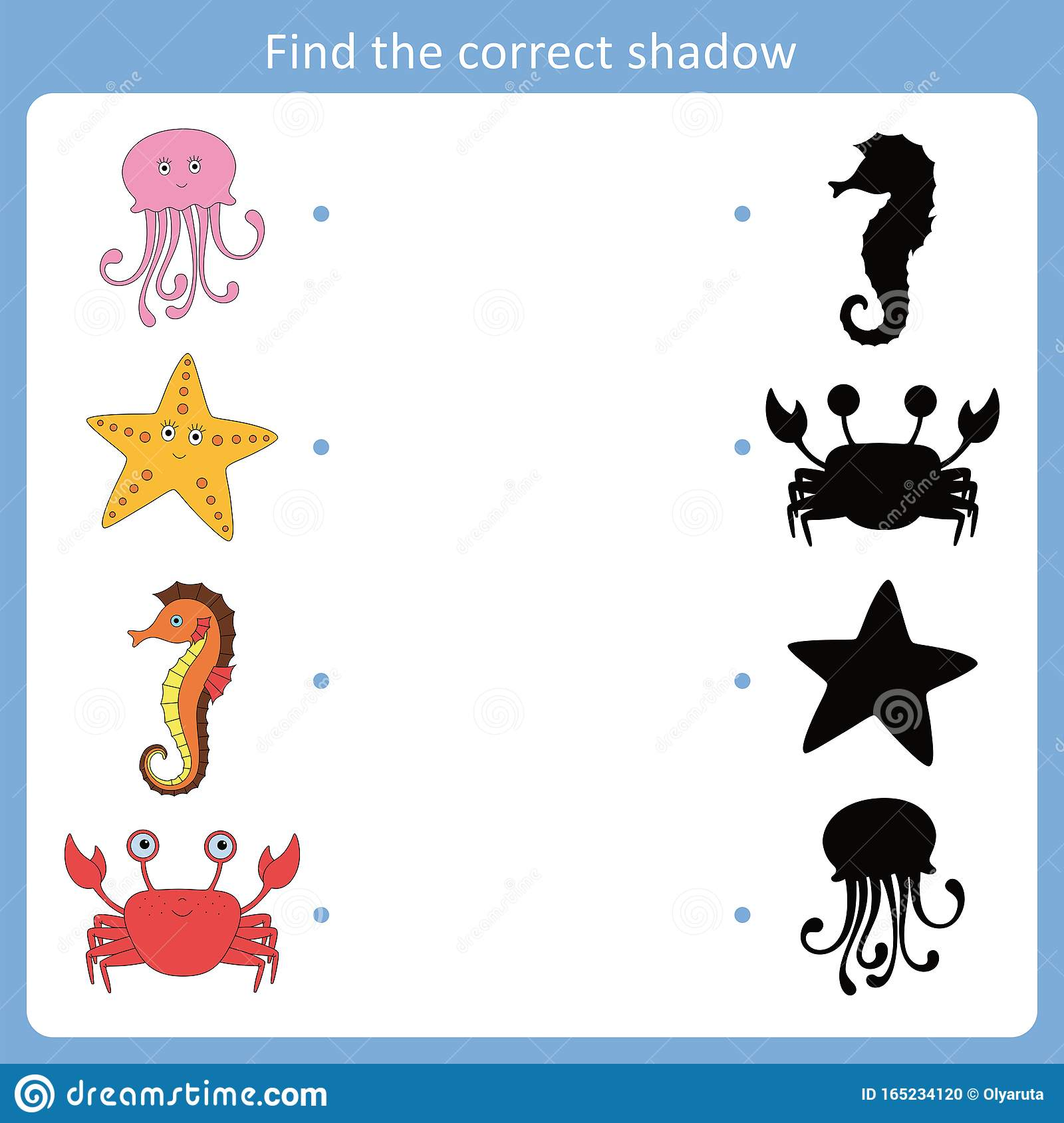 Find The Correct Shadow For Sea Animals Stock Vector
