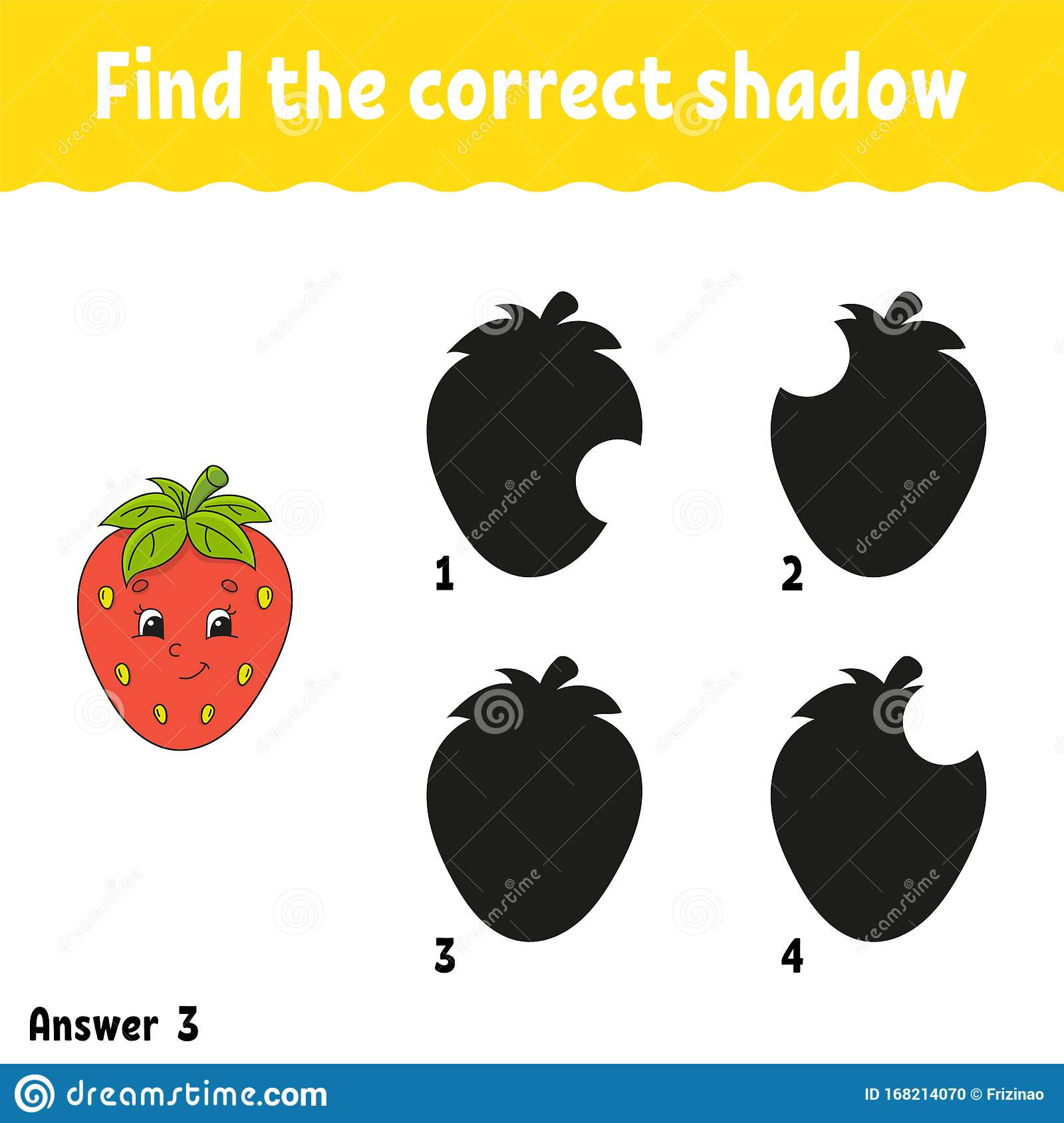 Find The Correct Shadow Strawberry Education Developing