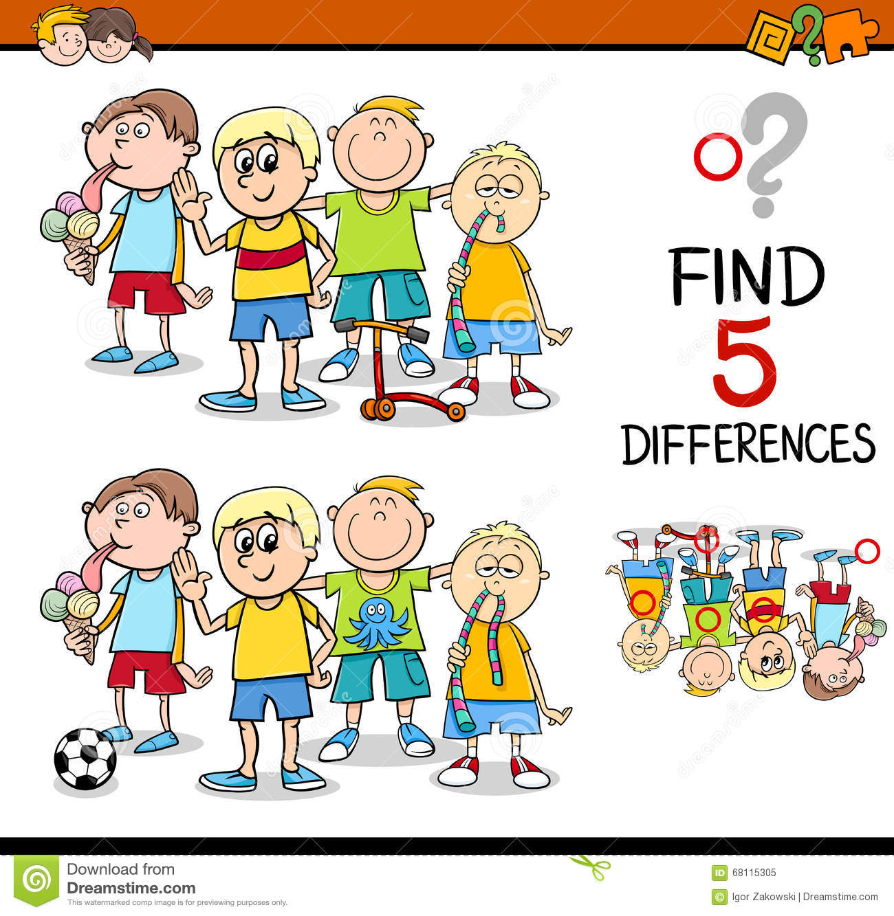 Find The Differences Activity Stock Vector