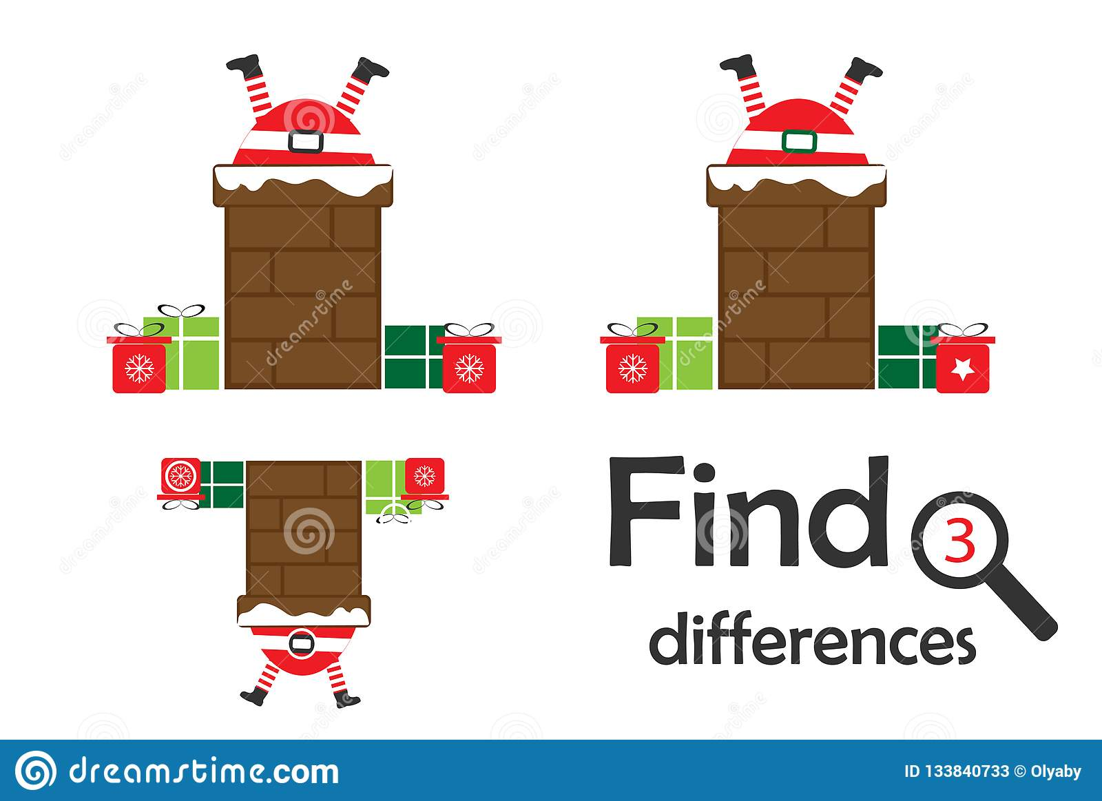 Find 3 Differences Christmas Game For Children Santa In