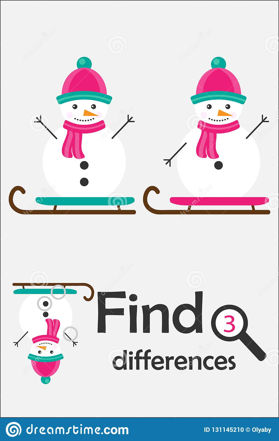 Find Differences Crab And Background Vector Illustration