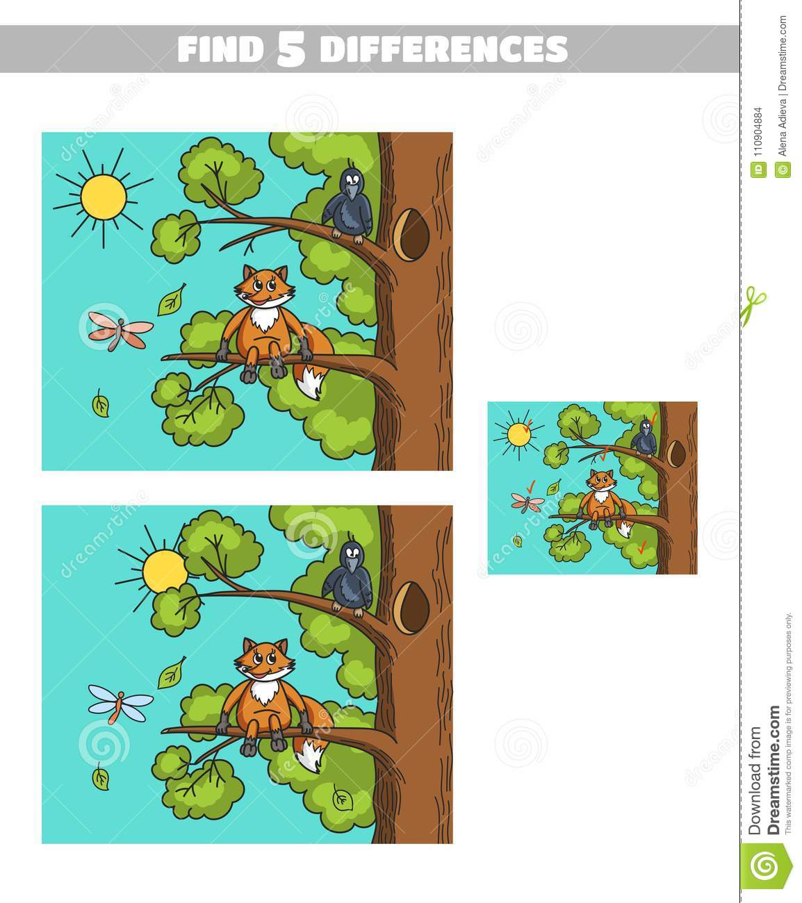 Find Differences Fox And Crow Stock Vector