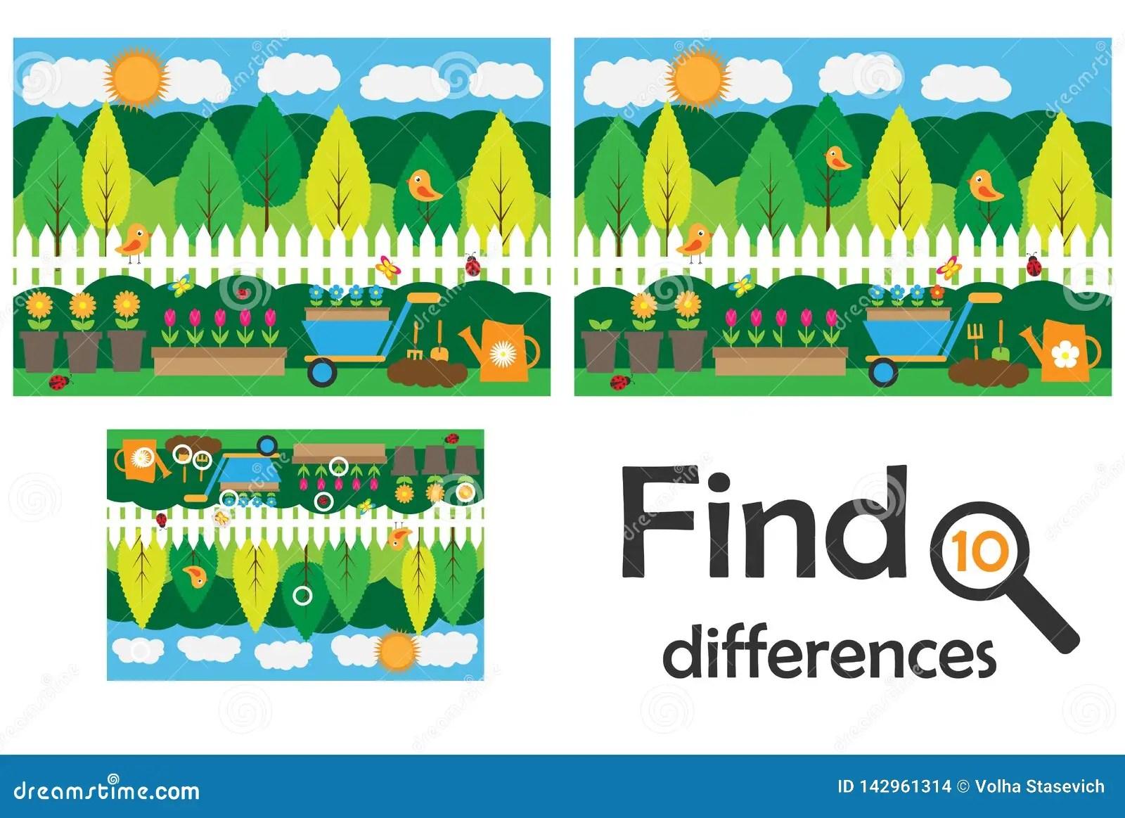 Find 10 Differences Game For Children Garden Cartoon