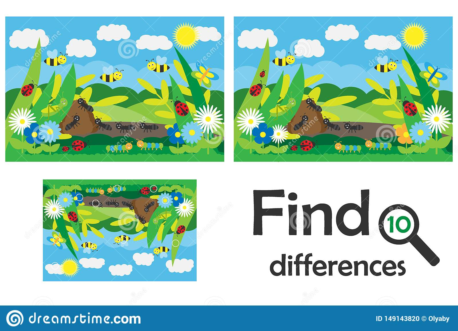 Find 10 Differences Game For Children Insects In Cartoon