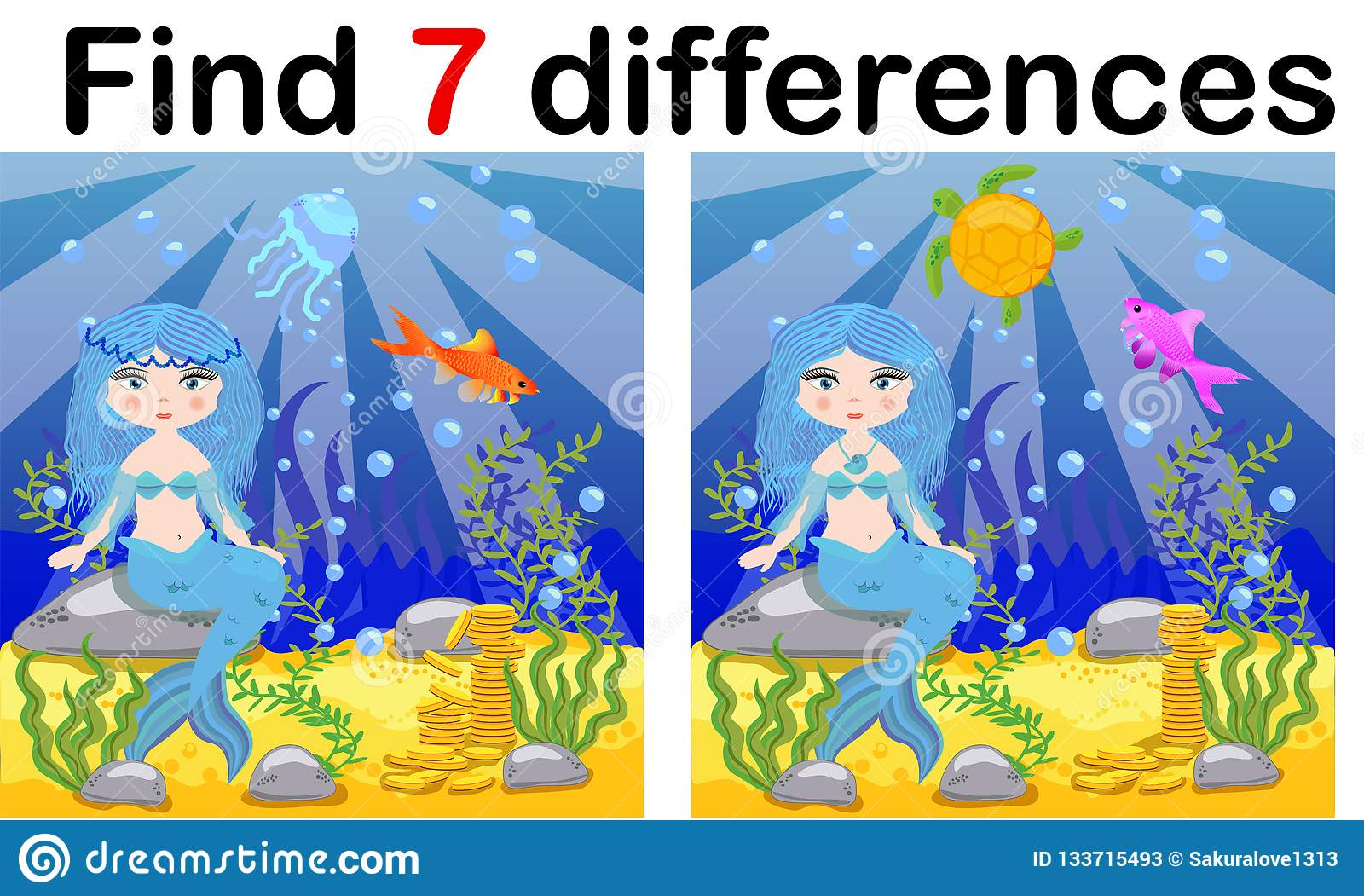 Find Differences Game For Children Mermaid Underwater In