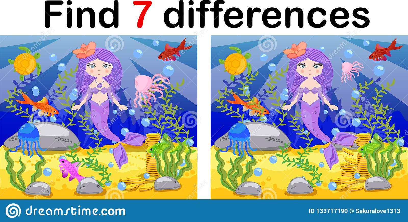Find Differences Game For Children Mermaid Underwater In Cartoon Style Education Game For
