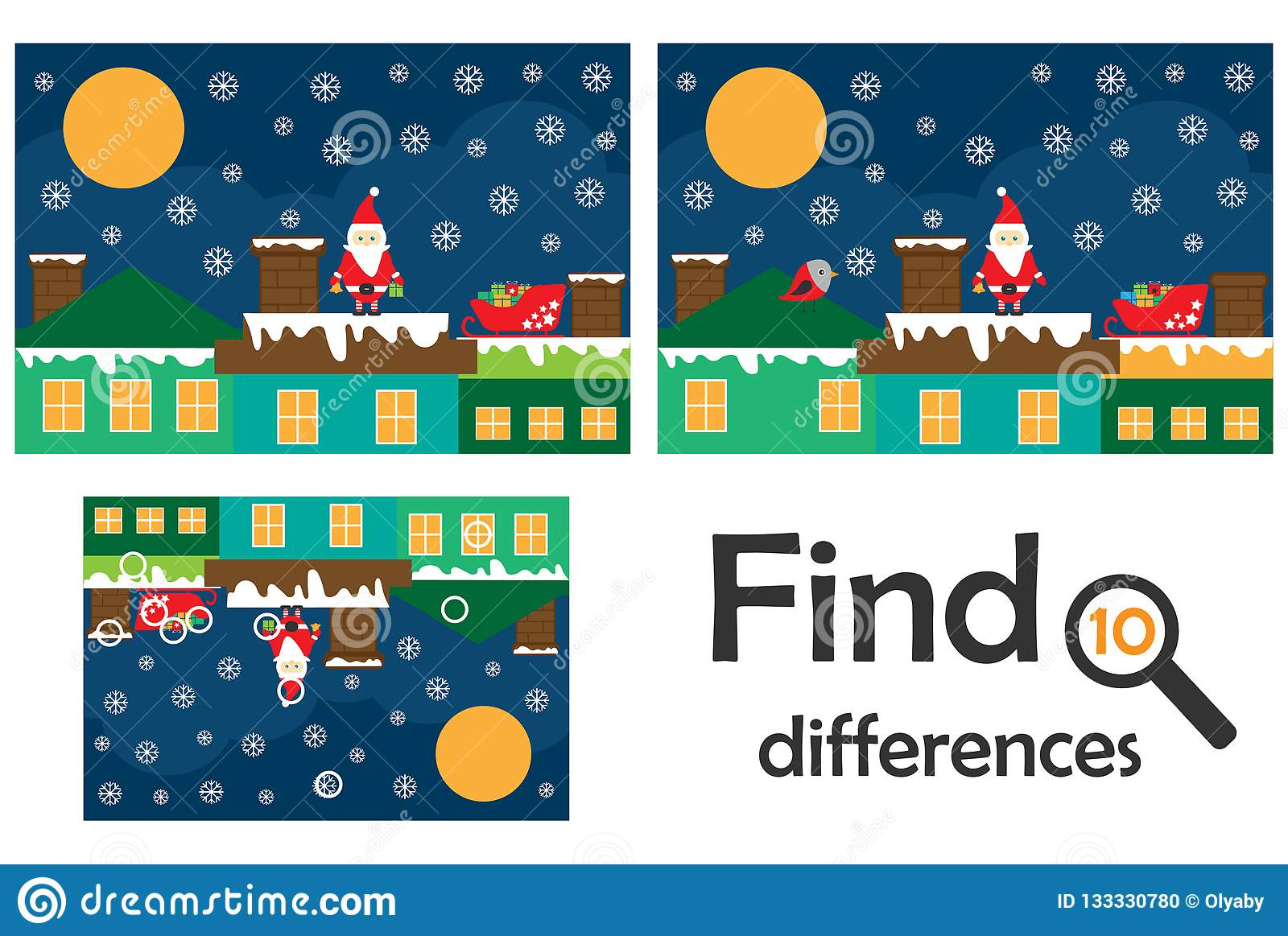 Find 10 Differences Game For Children Santa On The Roof
