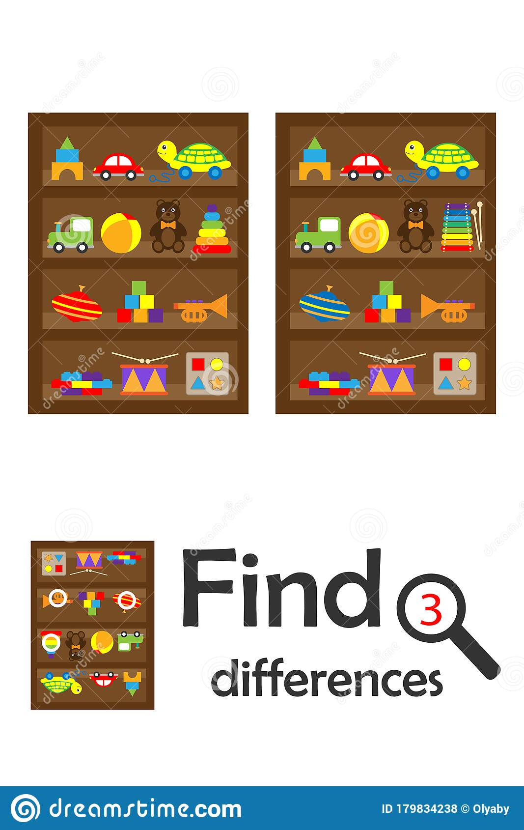 Find 3 Differences Game For Children Shelves With Toys