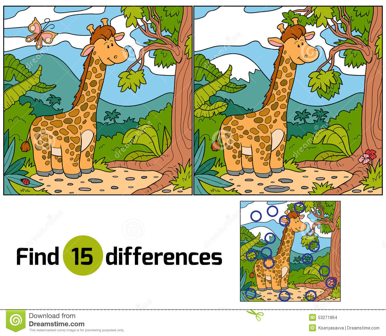 Find Differences Giraffe Stock Vector