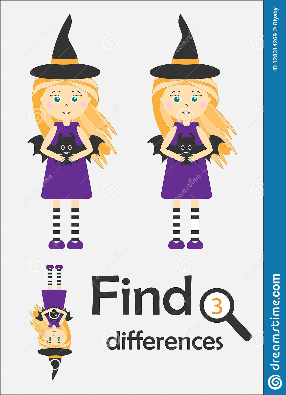 Find 3 Differences Halloween Game For Children Witch In
