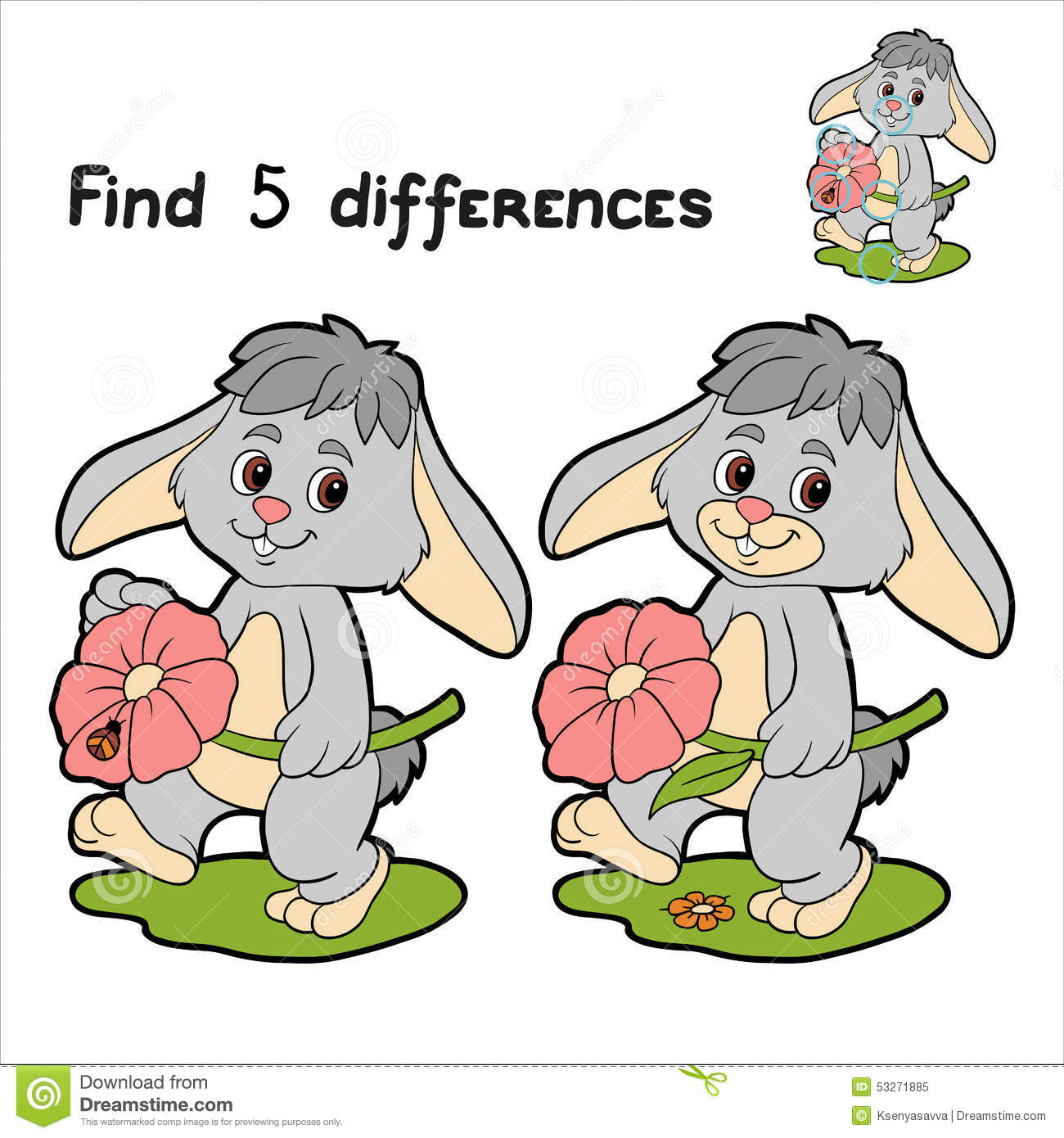Find Differences Rabbit Stock Vector Illustration Of