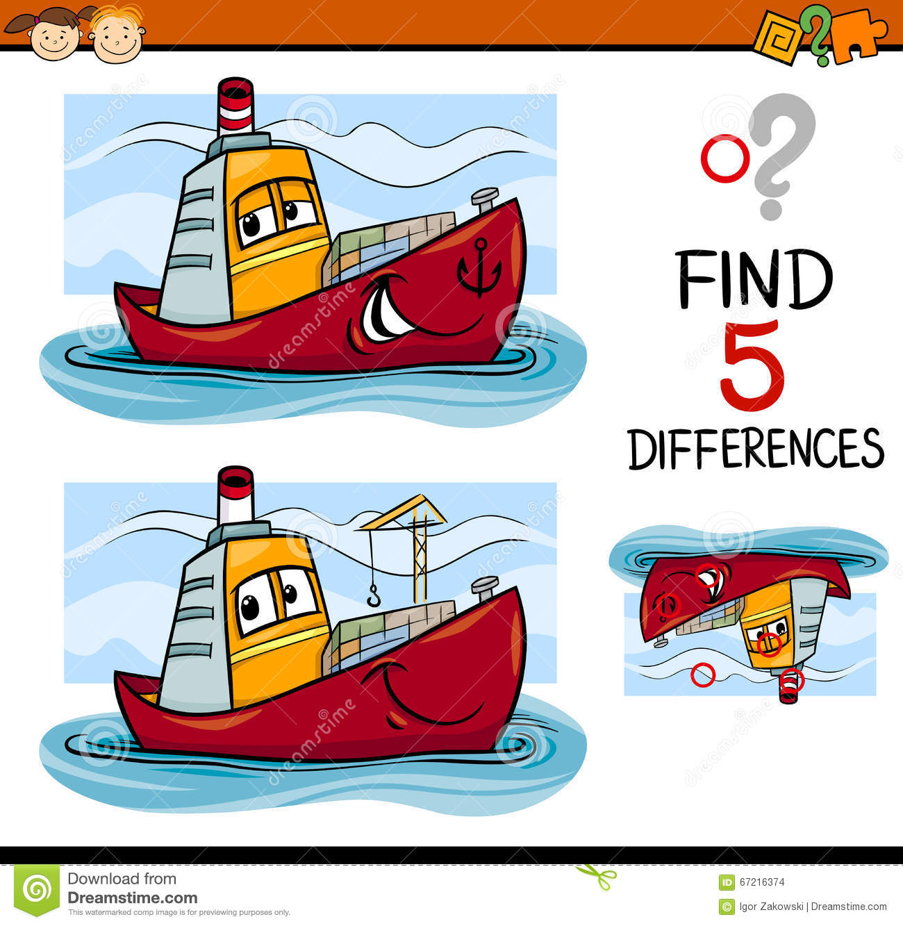 Find The Differences Task For Kids Stock Vector