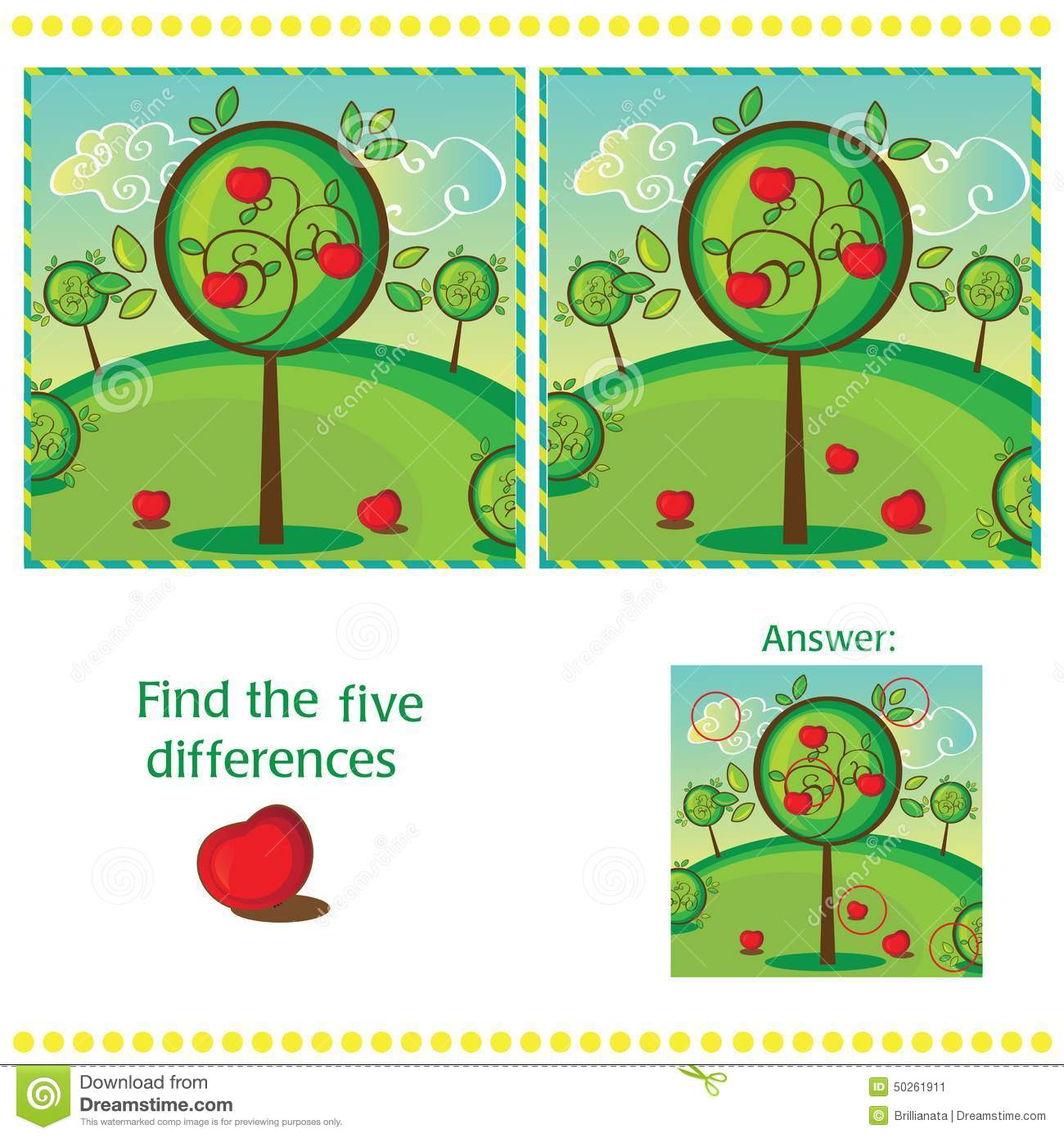 Find Differences Between The Two Images Stock Vector