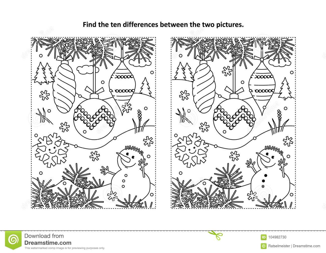 Find The Differences Visual Puzzle And Coloring Page With