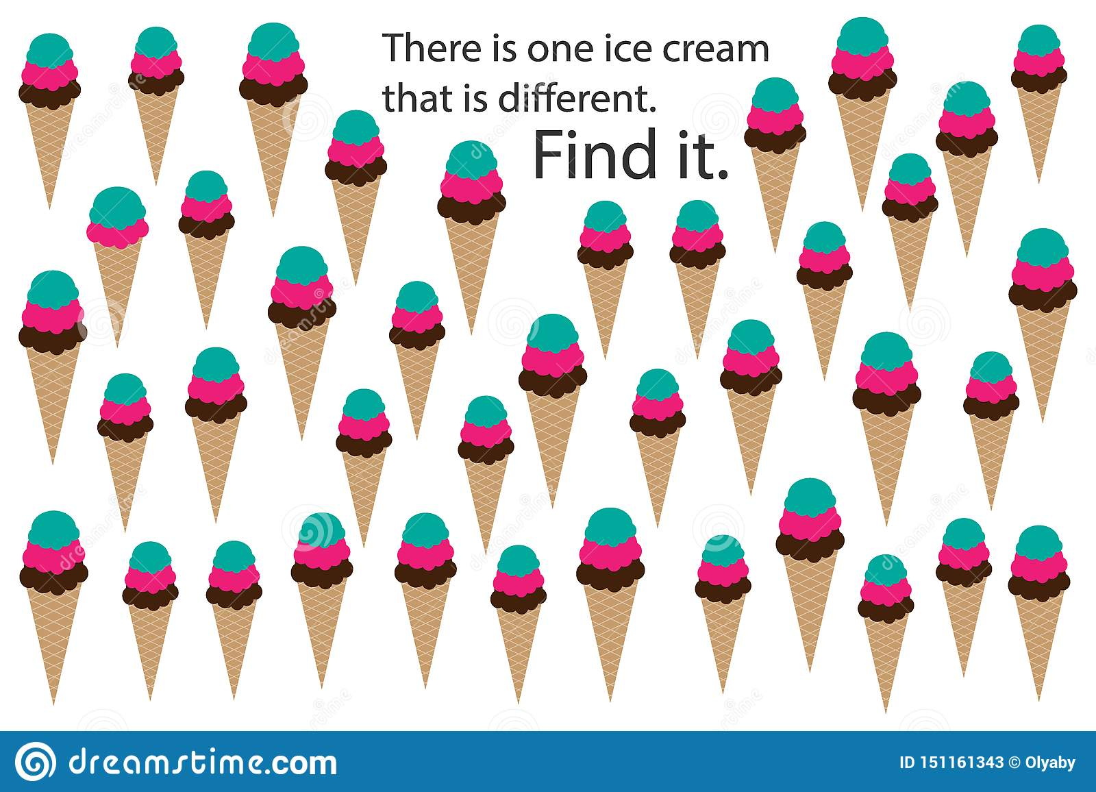 Find Ice Cream That Different Spring Fun Education Puzzle