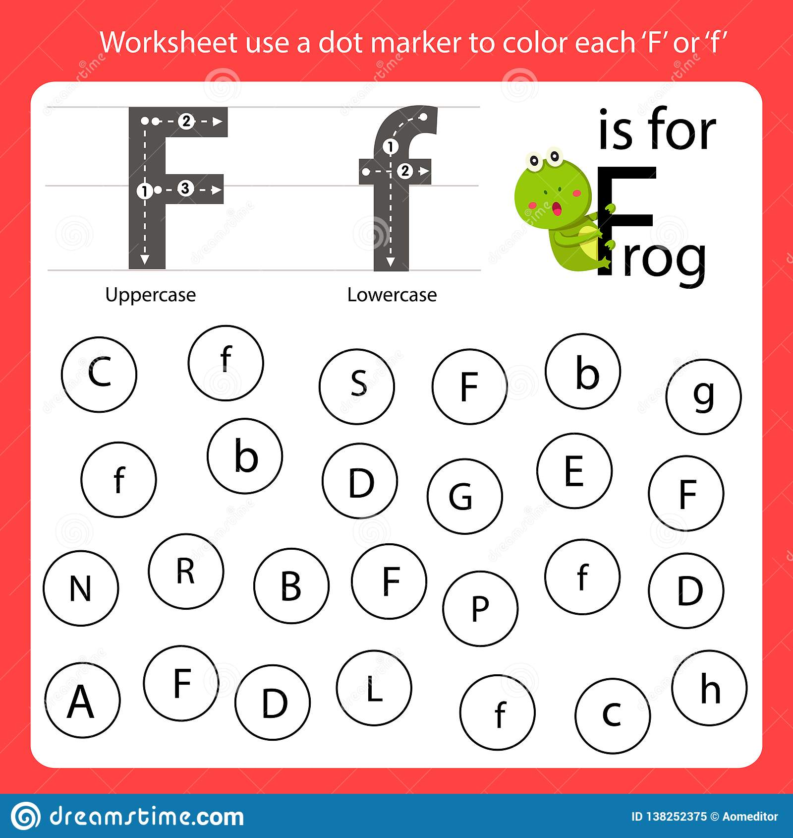 Find The Letter Worksheet Use A Dot Marker To Color Each F