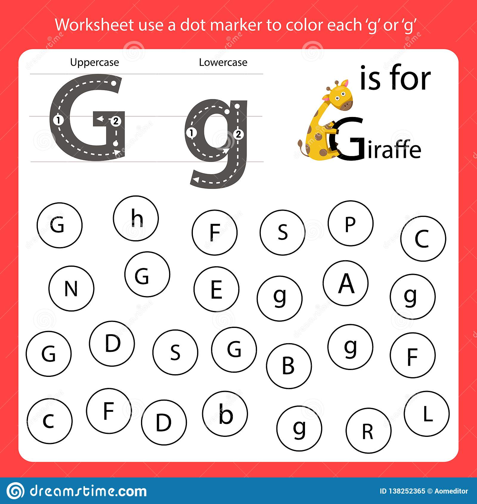 Find The Letter Worksheet Use A Dot Marker To Color Each G