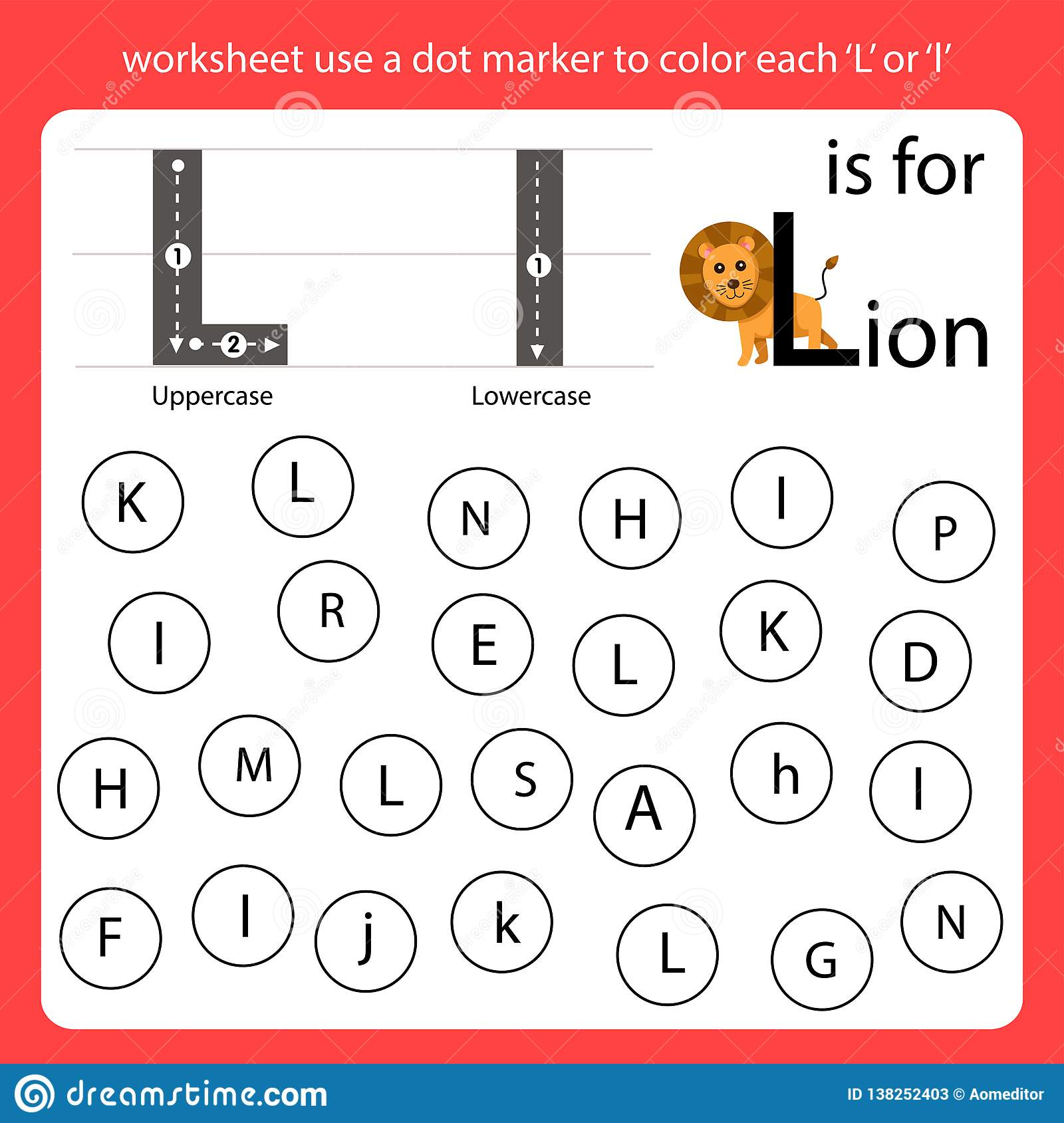 Find The Letter Worksheet Use A Dot Marker To Color Each L Stock Vector