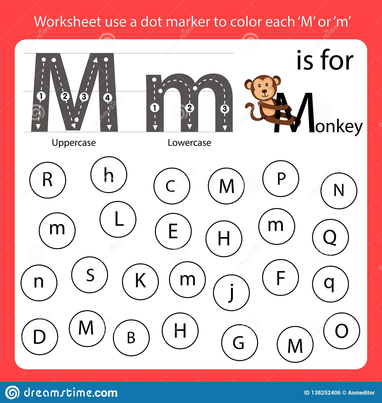 Find The Letter Worksheet Use A Dot Marker To Color Each M