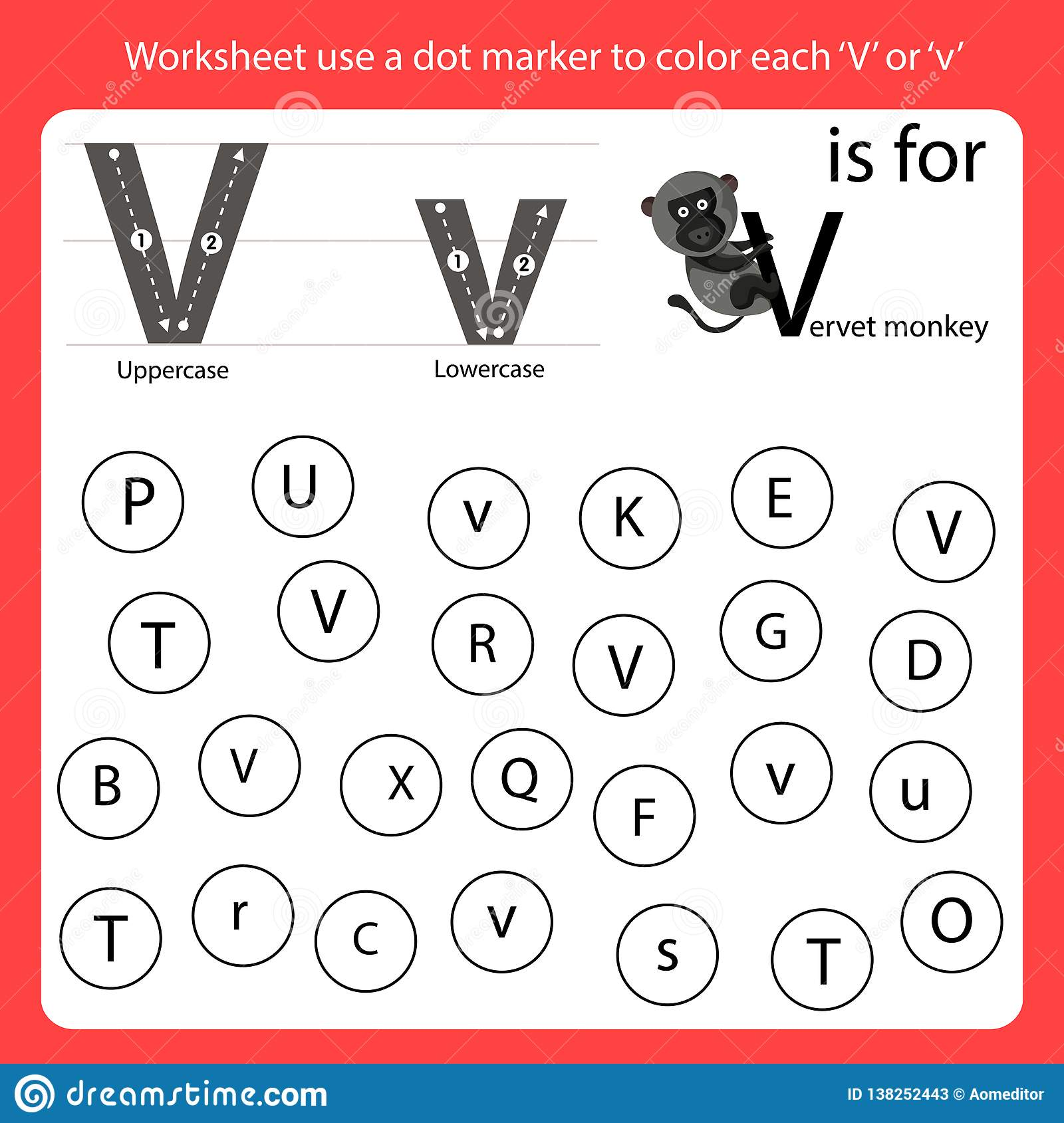 Find The Letter V Worksheet