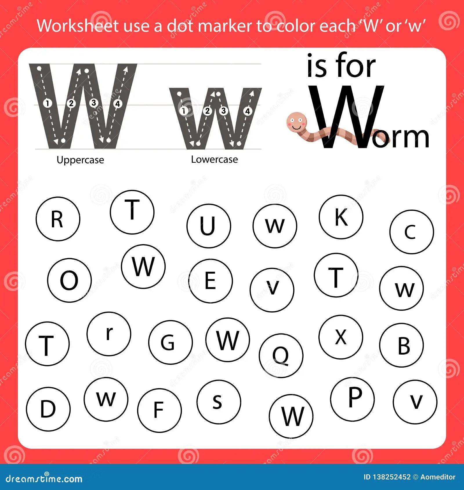Letter W Worksheet Vector Illustration