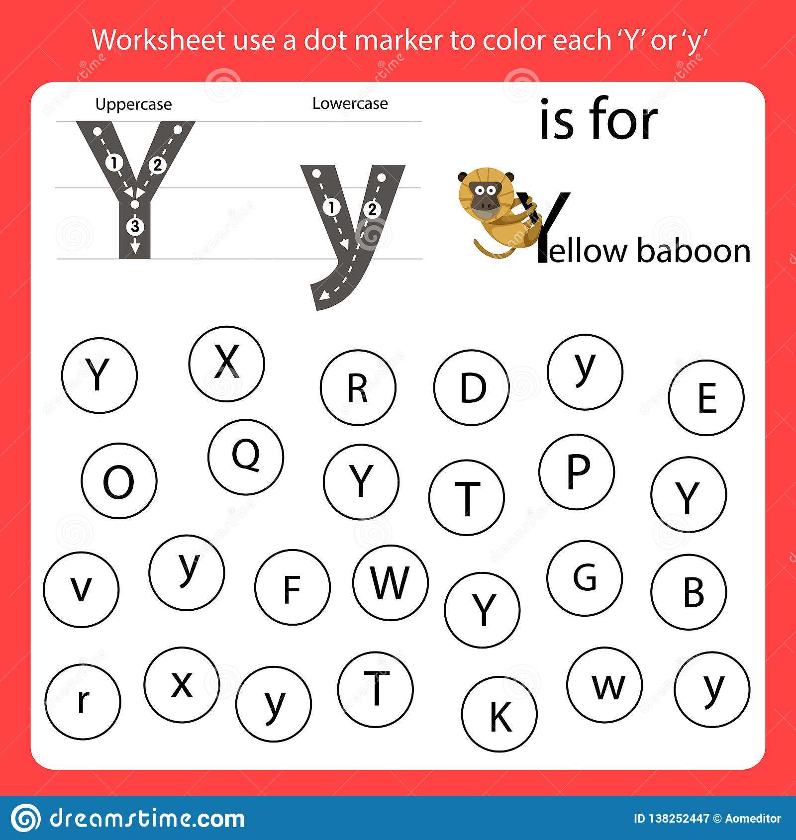 Find The Letter Worksheet Use A Dot Marker To Color Each Y