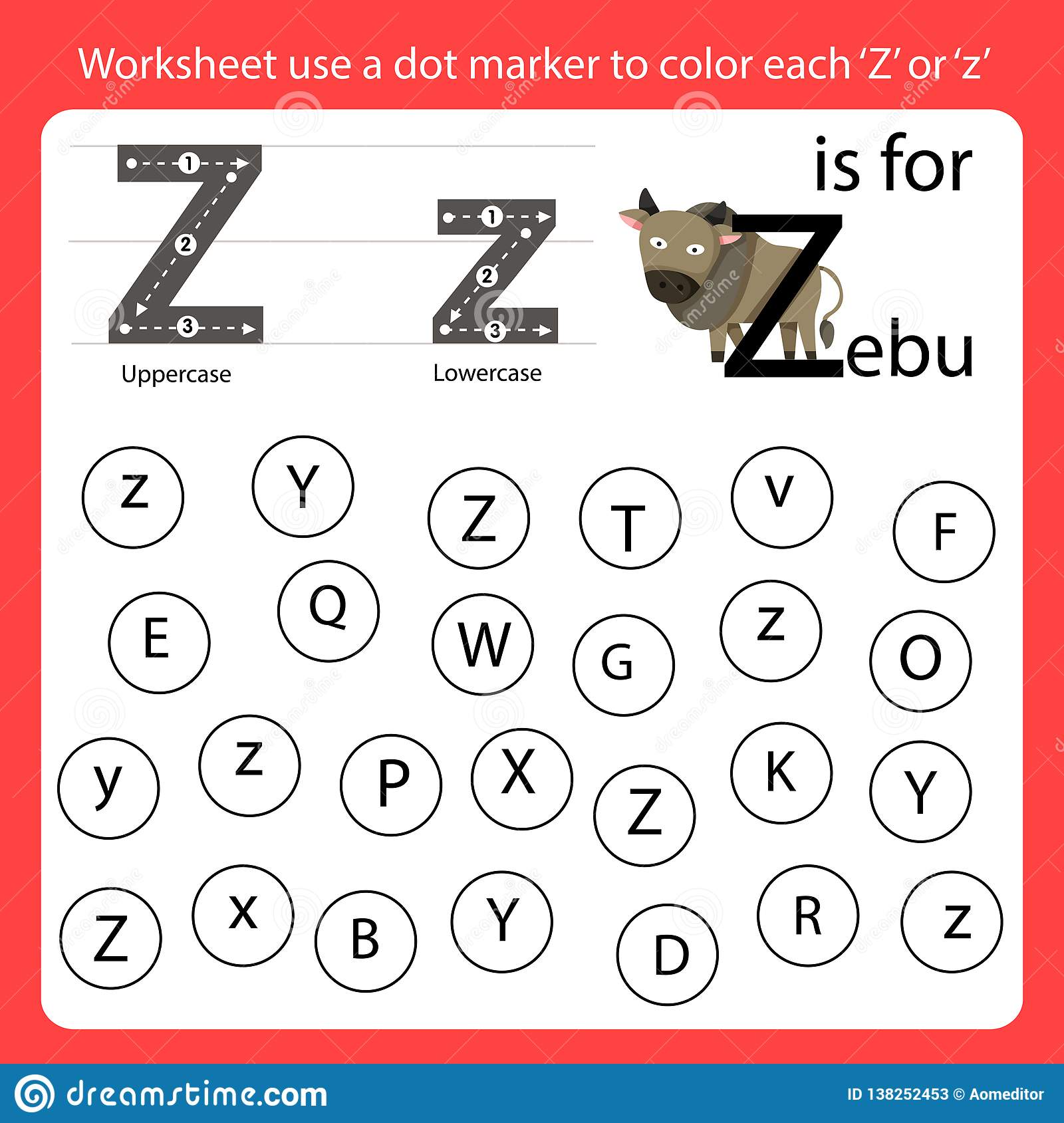 Find The Letter Worksheet Use A Dot Marker To Color Each Z
