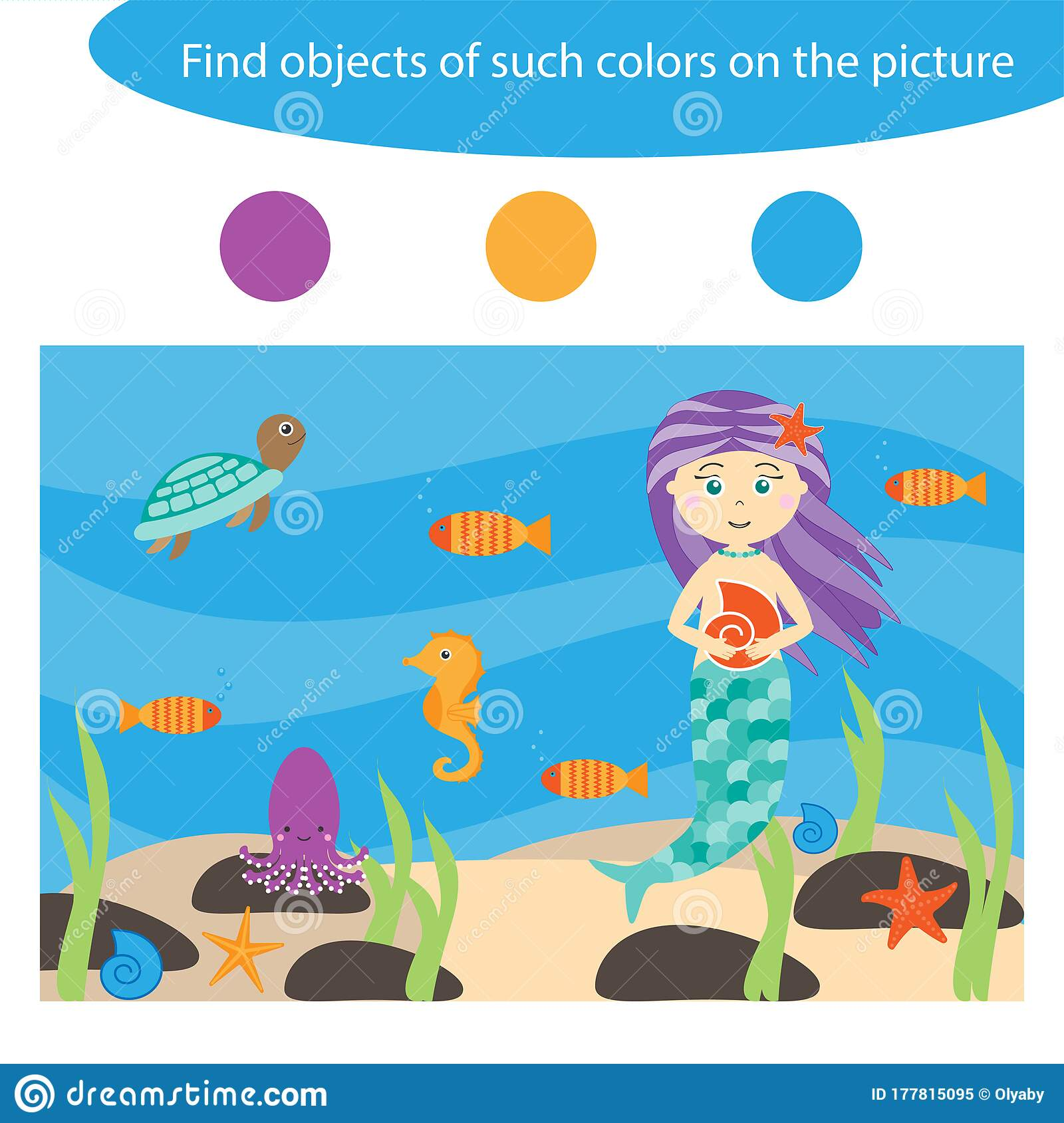 Find Objects Of Same Colors Game For Children In Cartoon