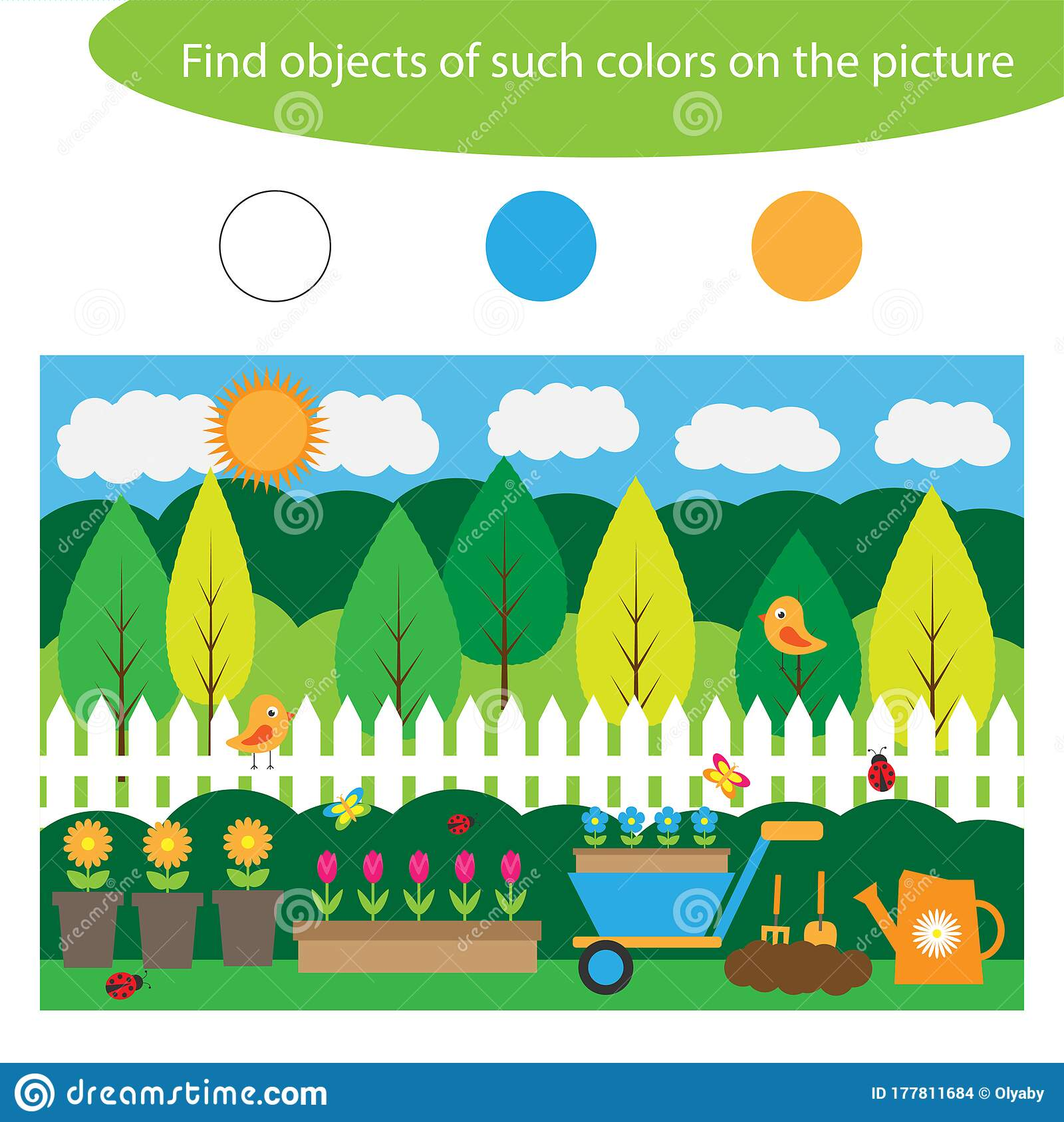 Find Objects Of Same Colors Garden Game For Children In