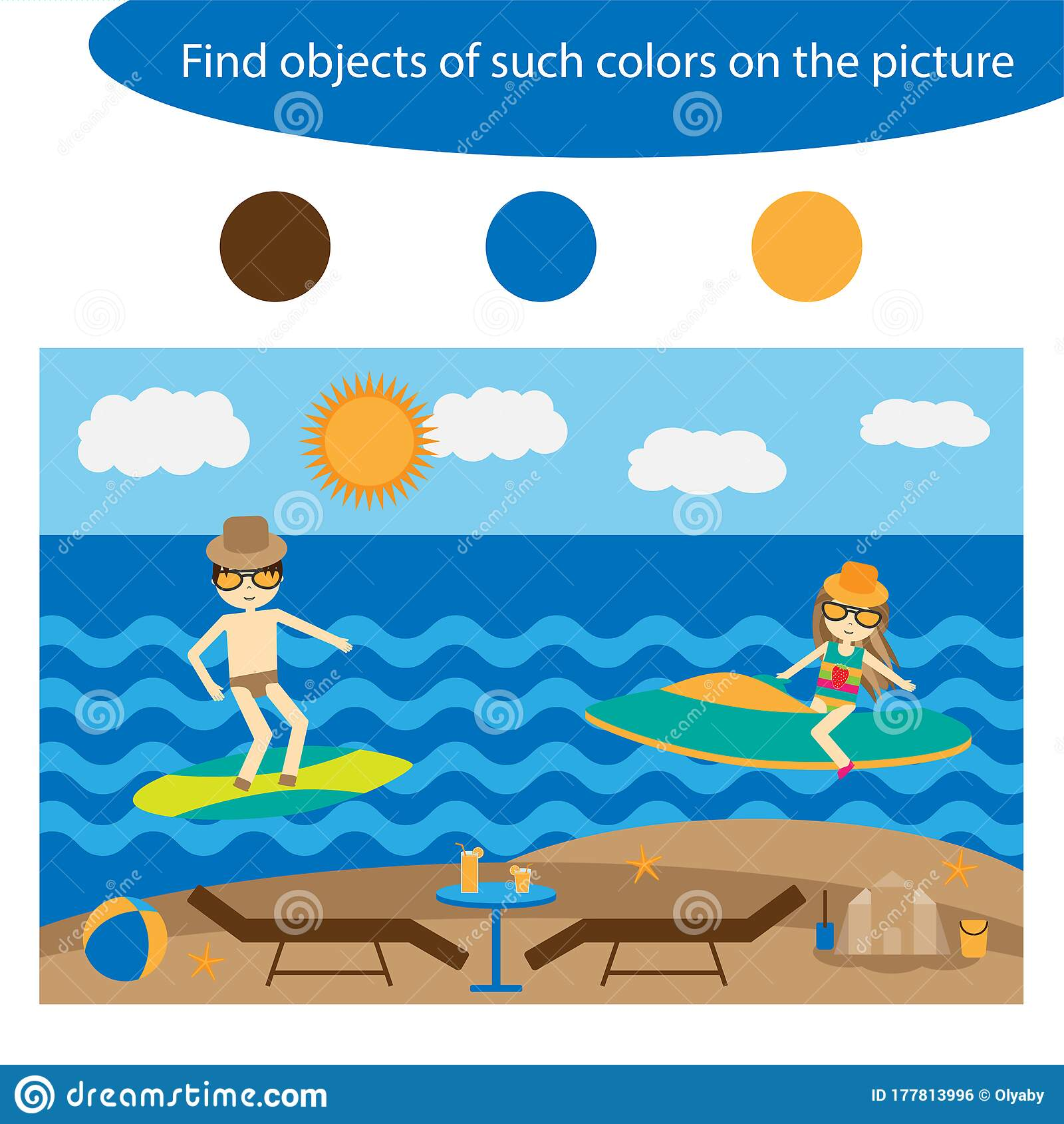 Find Objects Of Same Colors Summer Game For Children In