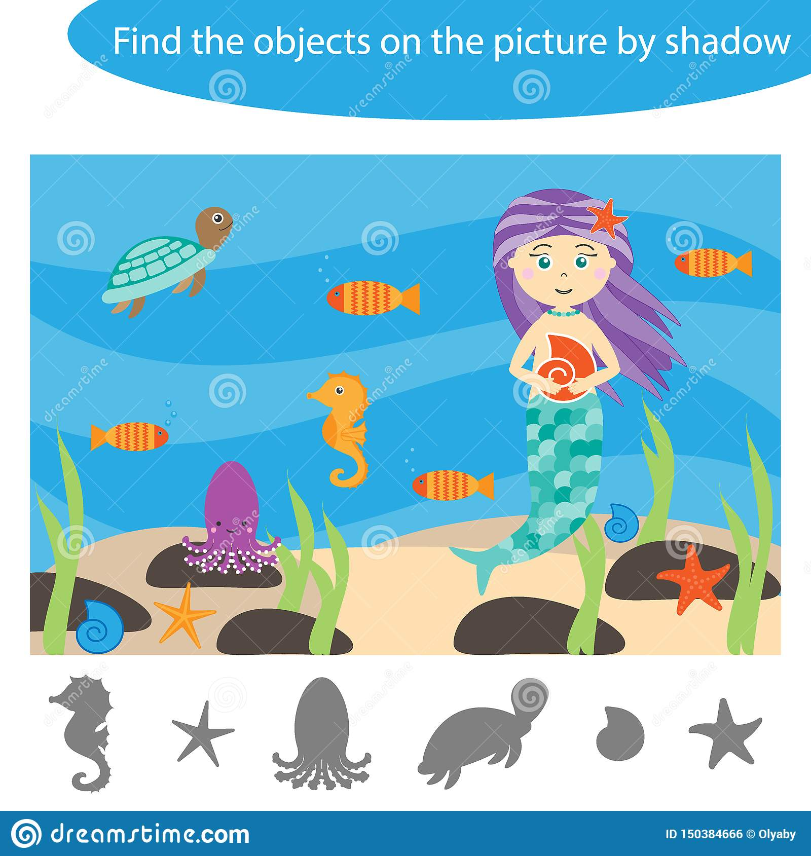 Find The Objects By Shadow Ocean Game For Children In