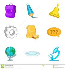 find icons set cartoon style