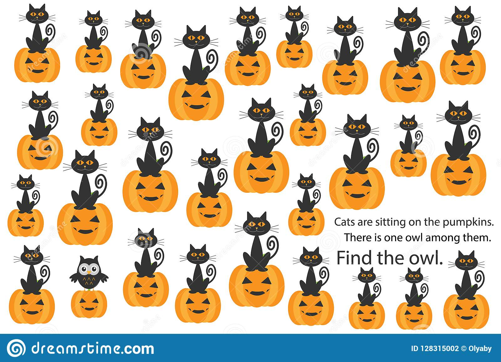 Find Owl Among Cats On Pumpkins Halloween Fun Education