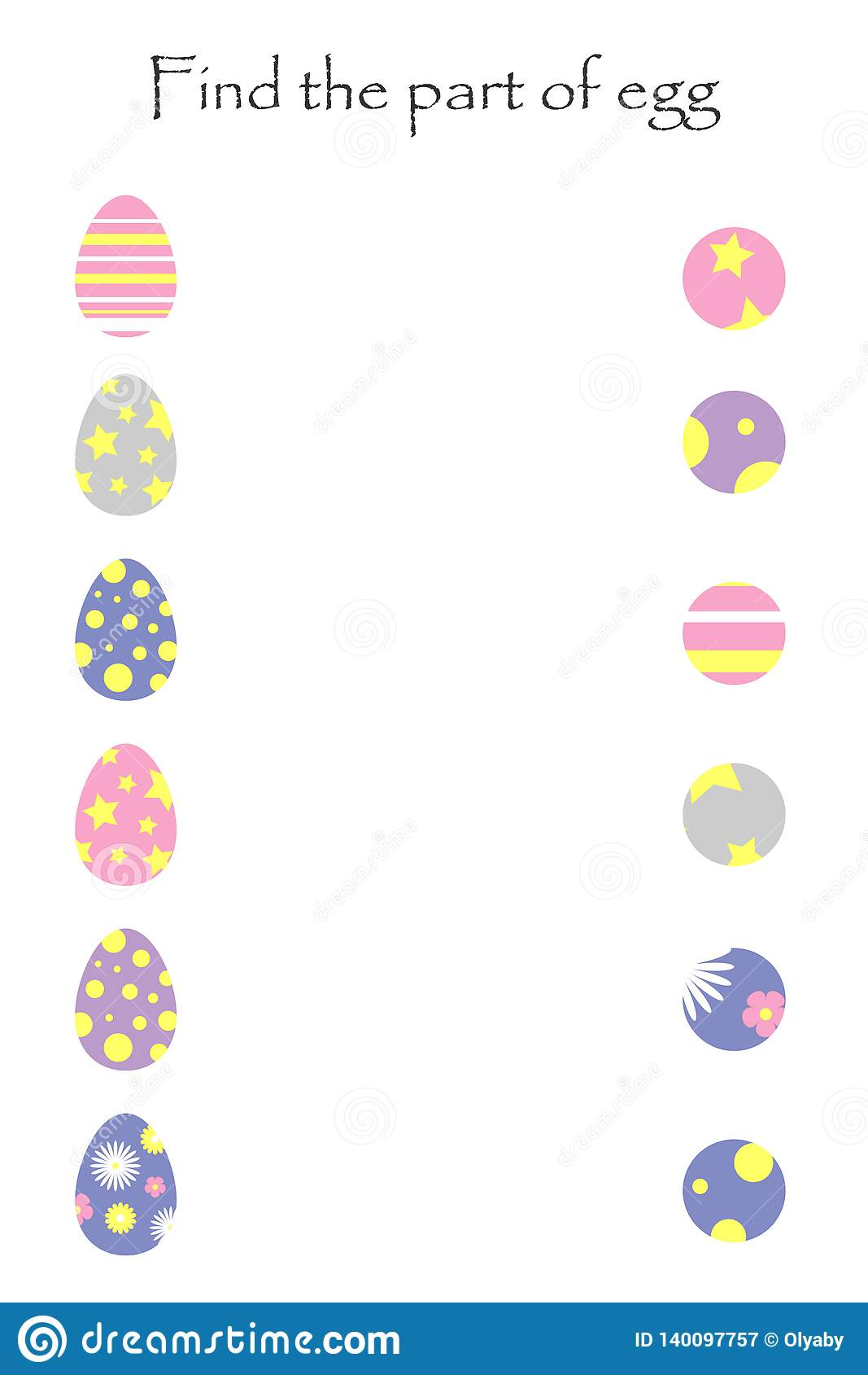 Find The Part Of Egg Easter Game For Children Chick In