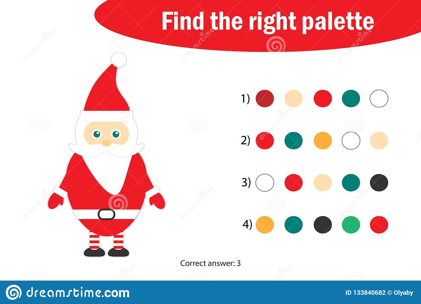 Find The Right Palette To The Picture Santa Claus In