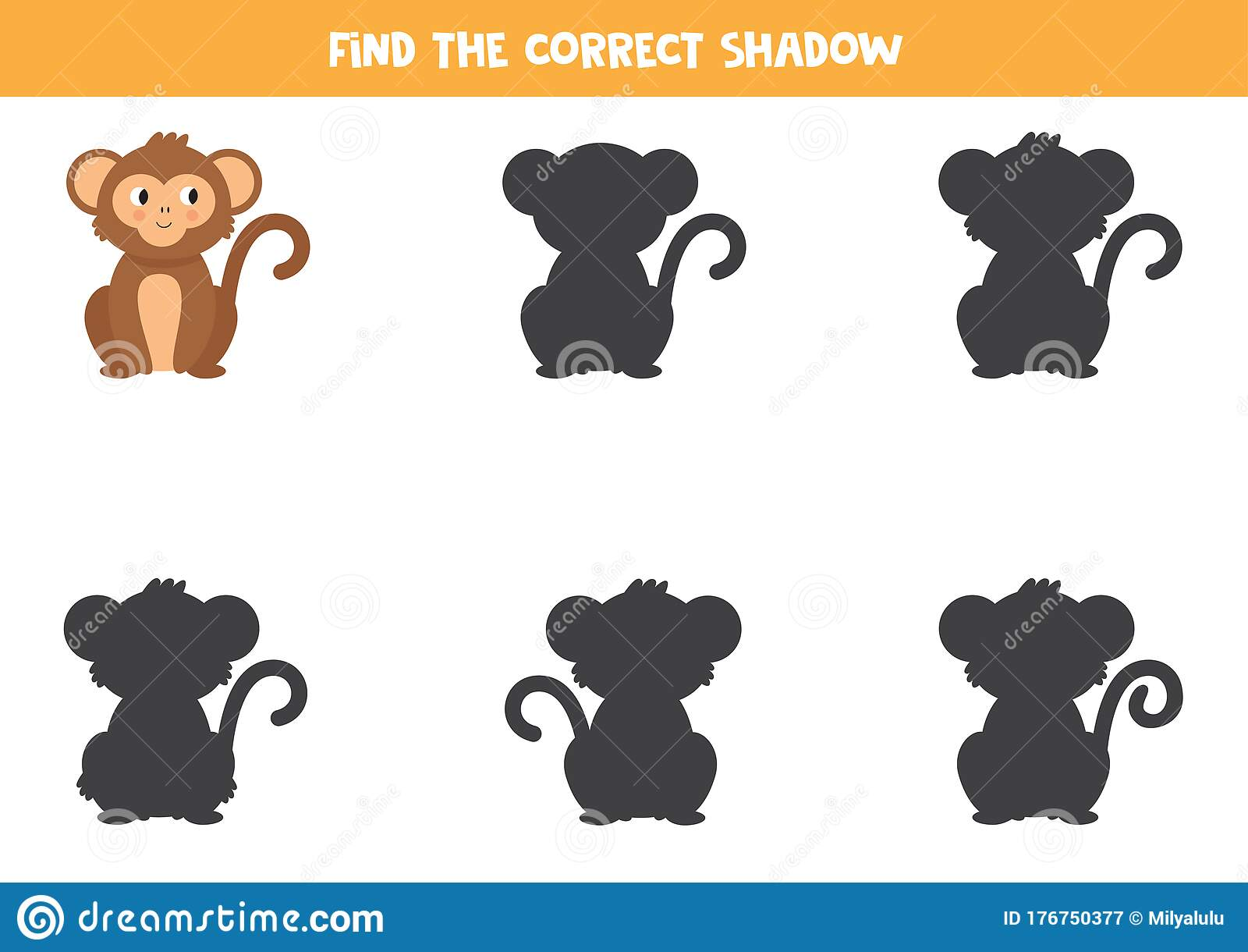 Find The Right Shadow Of Cartoon Monkey Printable