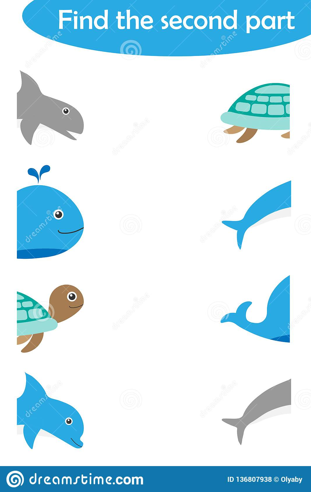 Find The Second Part Of Ocean Animals For Children Fun