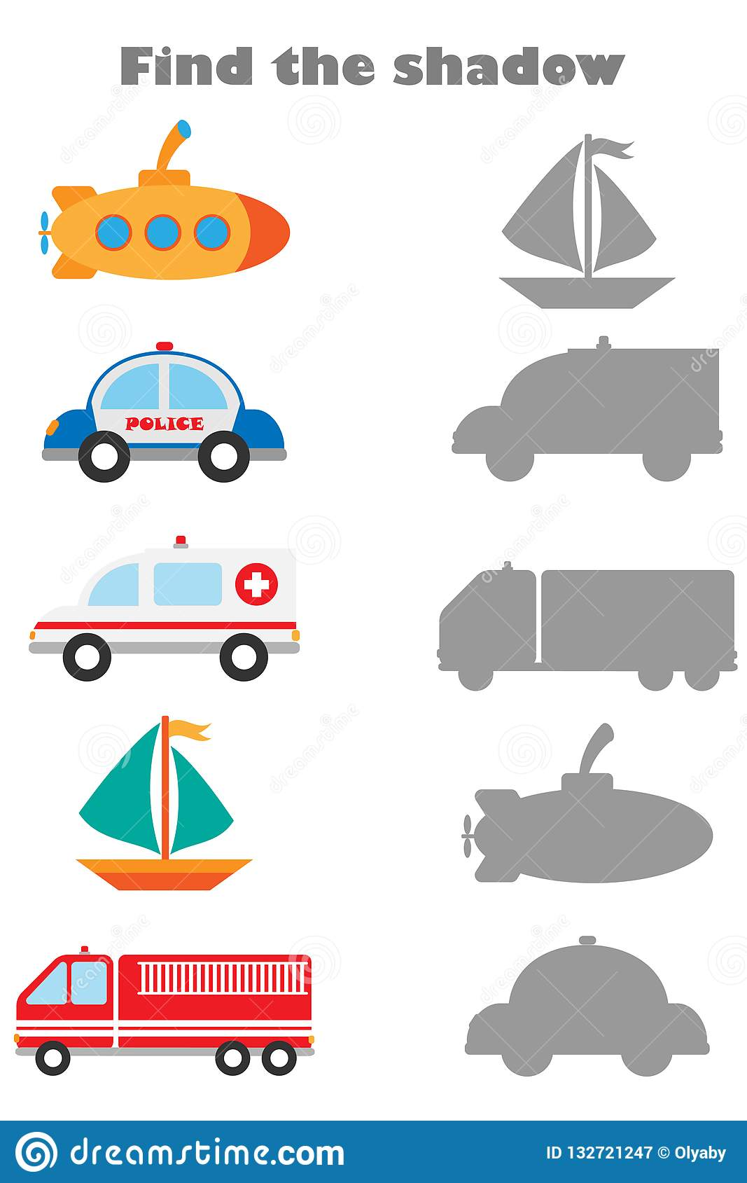 Find The Shadow Game With Pictures Of Different Transport