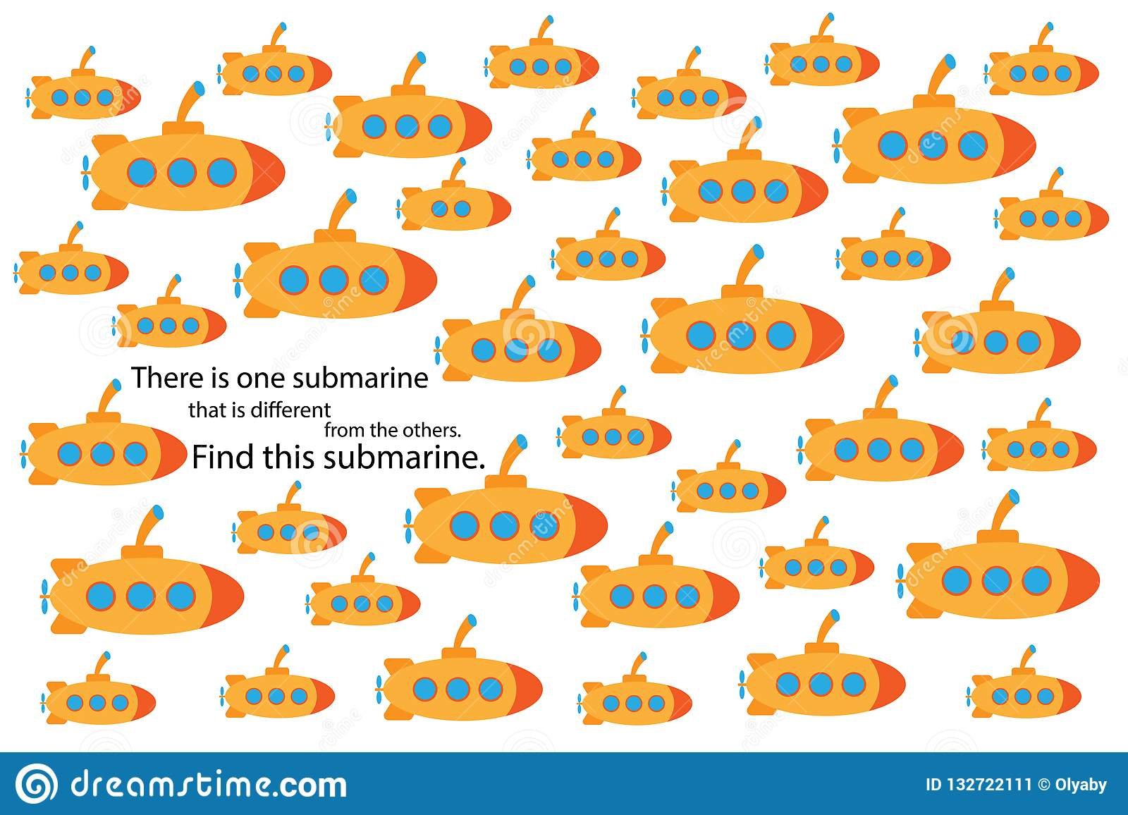 Find Submarine That Different Fun Education Puzzle Game