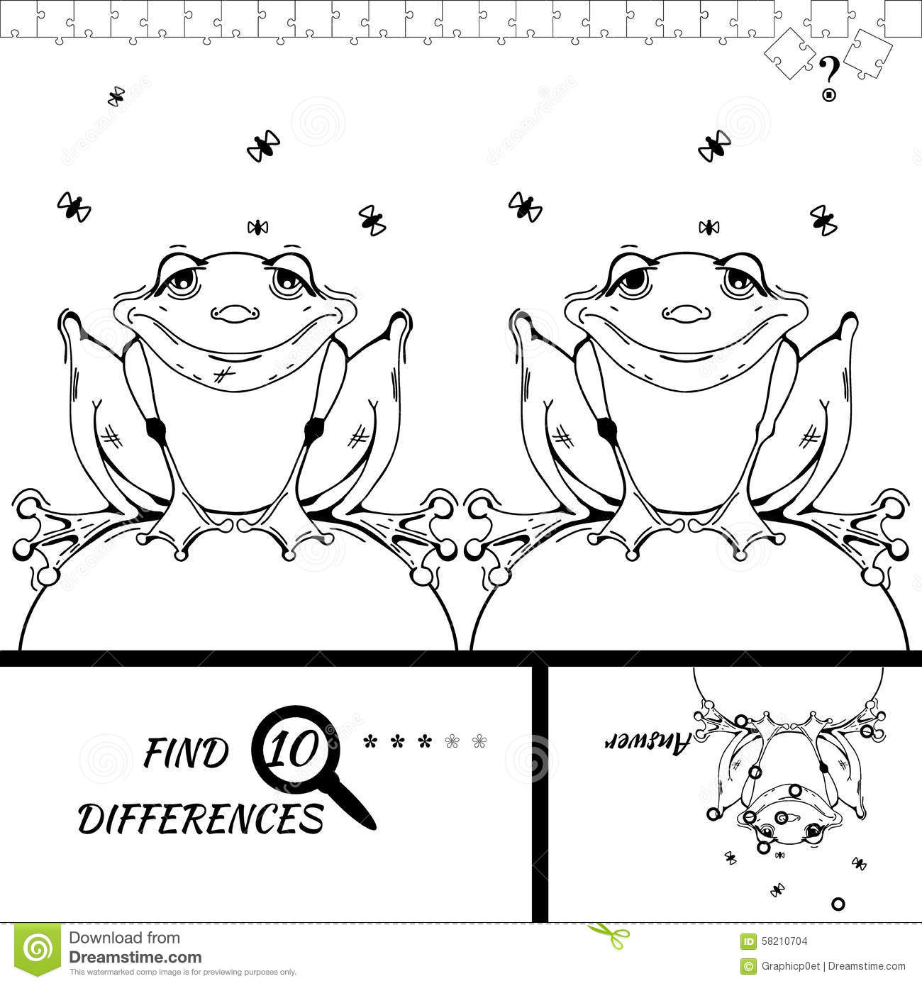 Find Ten Difference Game Stock Vector Illustration Of
