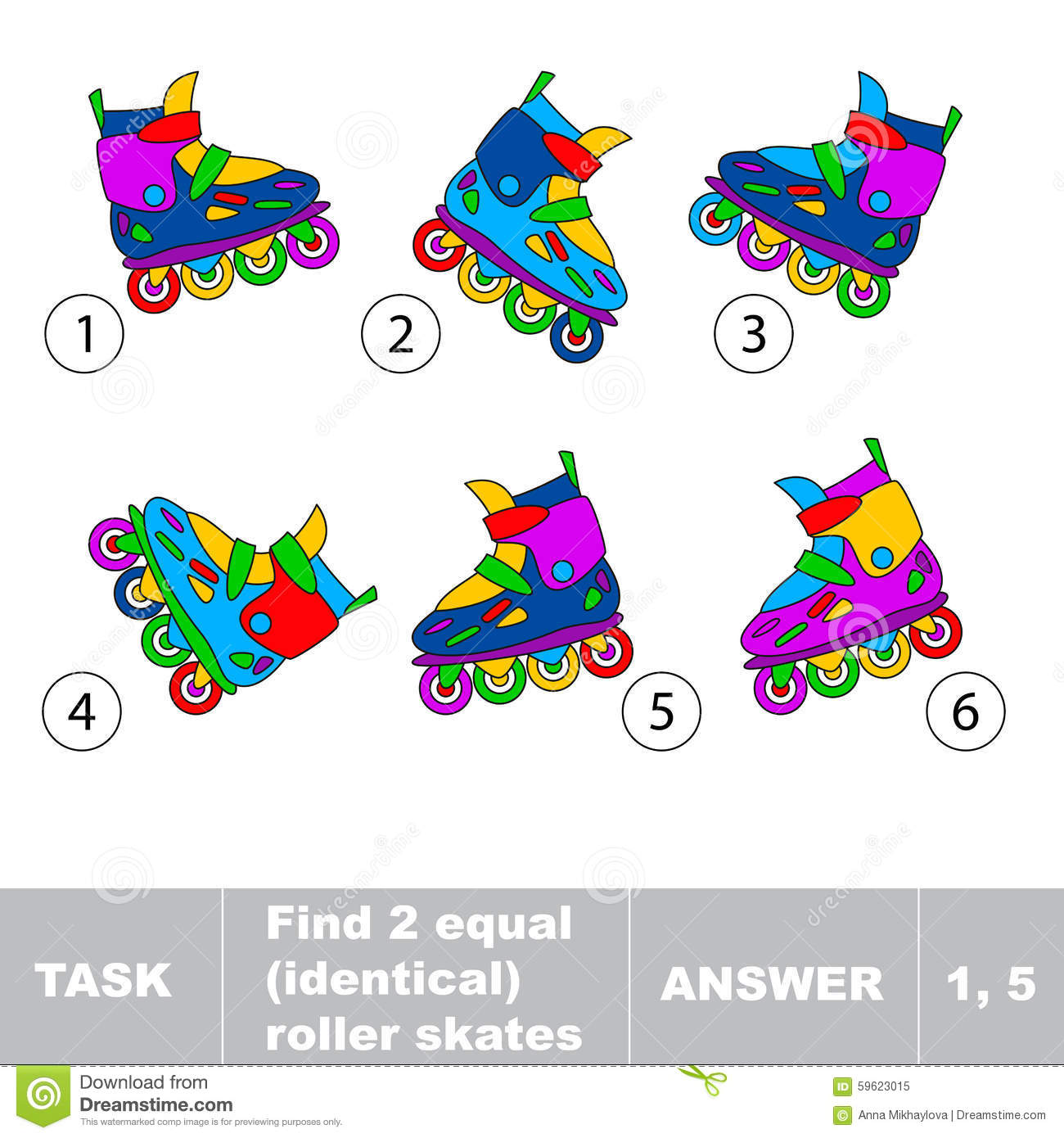 Find Two Equal Identical Roller Skates Stock Vector