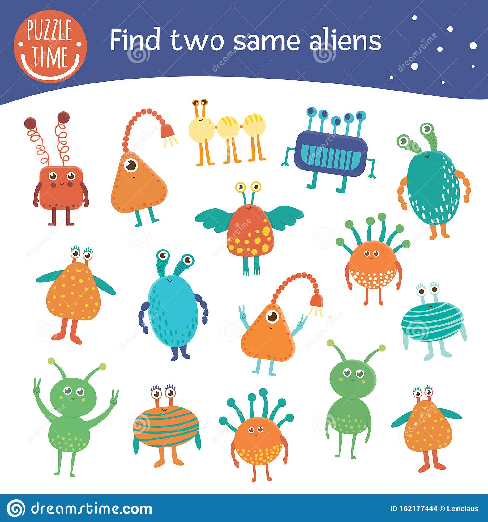 Find Two Same Aliens Space Matching Activity For