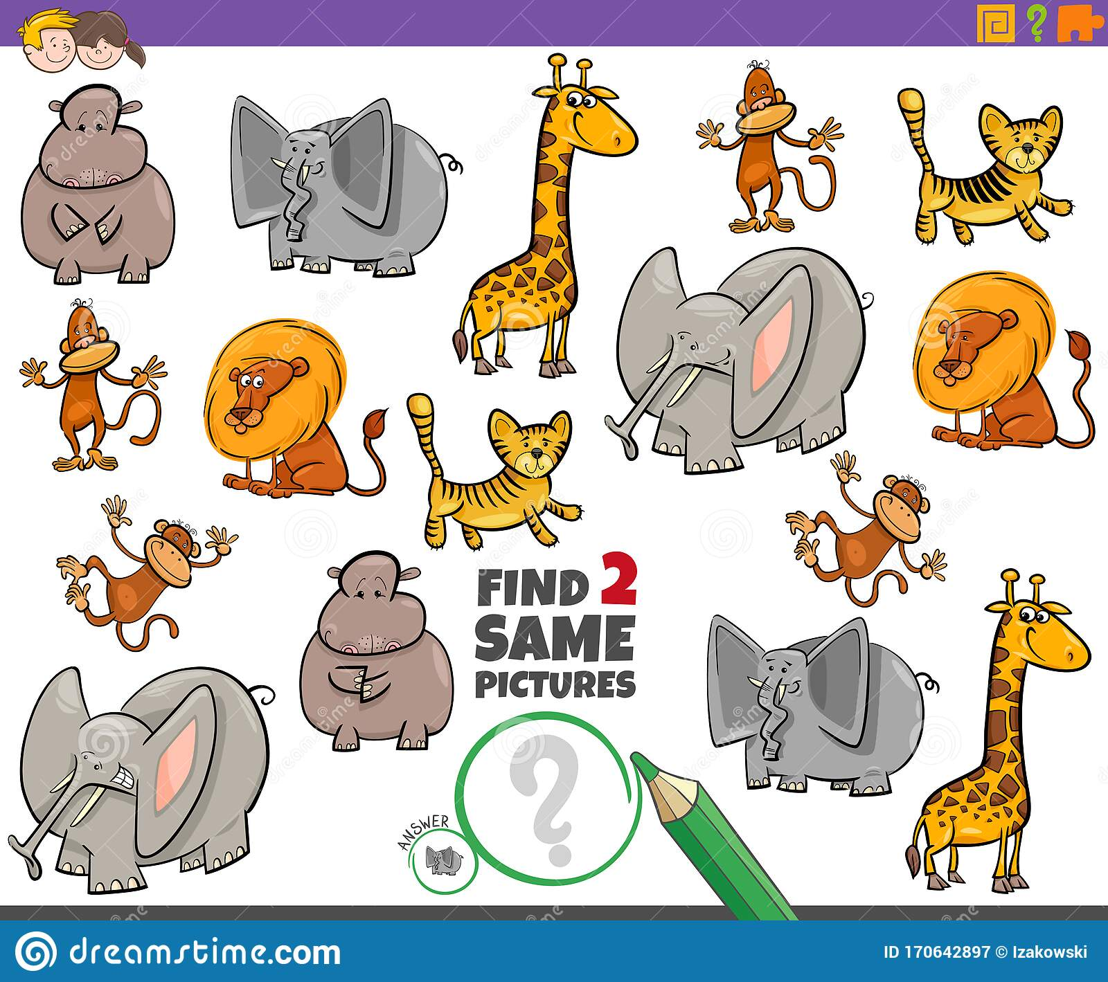 Find Two Same Animal Characters Game For Children Stock
