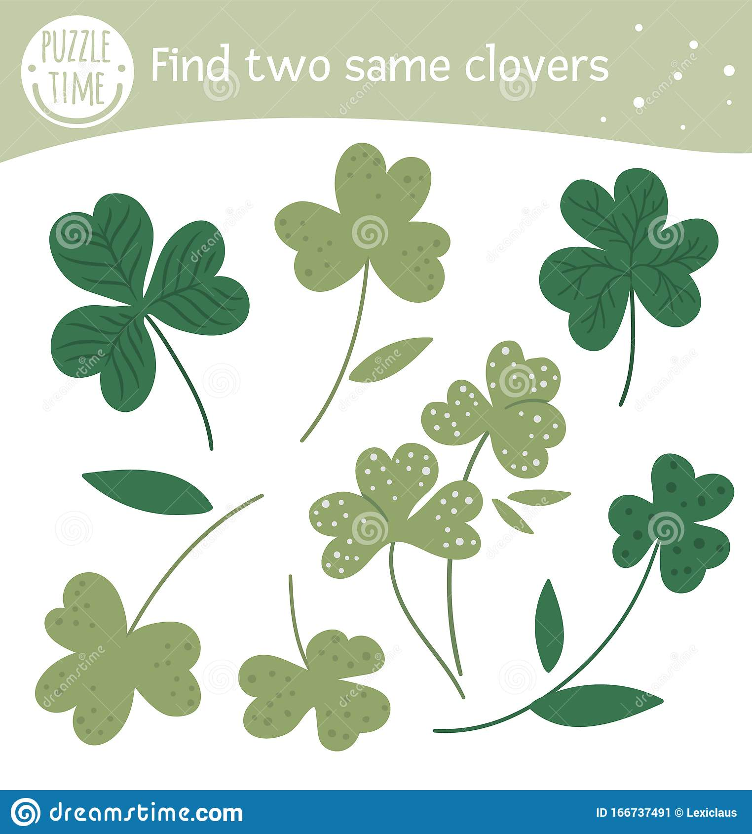 Find Two Same Clovers Saint Patrick S Day Matching