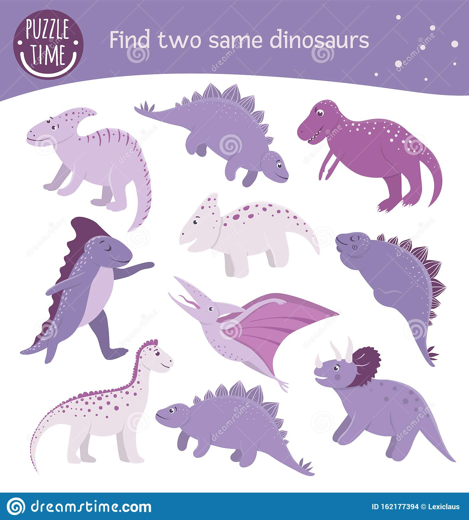 Find Two Same Dinosaurs Matching Activity For Preschool